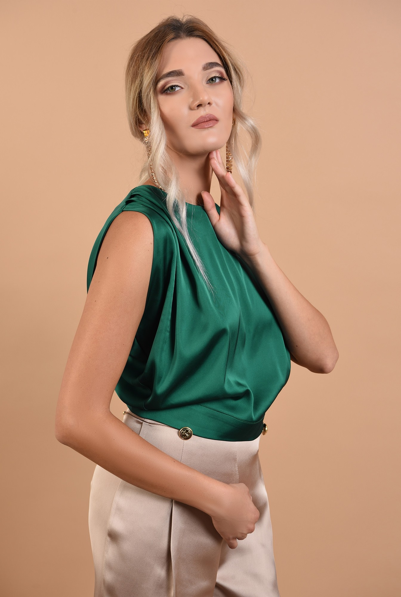 bluza de seara, cu umeri fronsati, cu funda la spate, Poema, verde