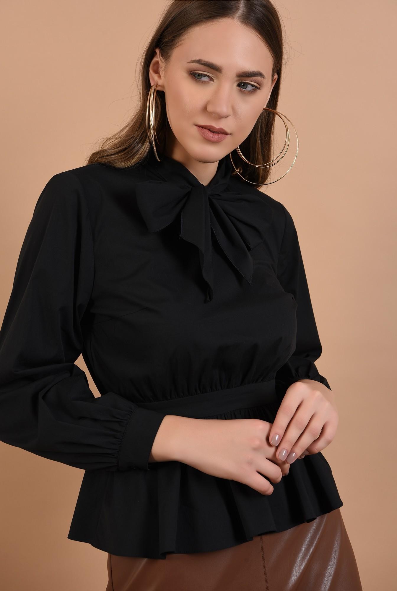 bluza din poplin, funda la gat, maneci cu manseta, neagra