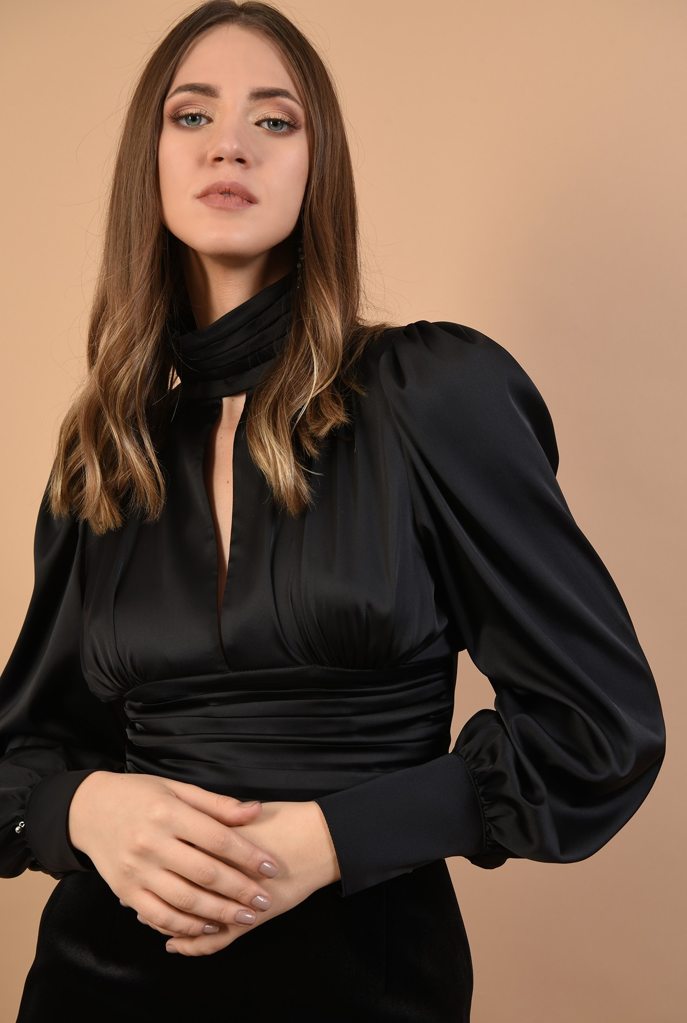 bluza eleganta, din satin, brau fronsat, Poema, maneci bufante