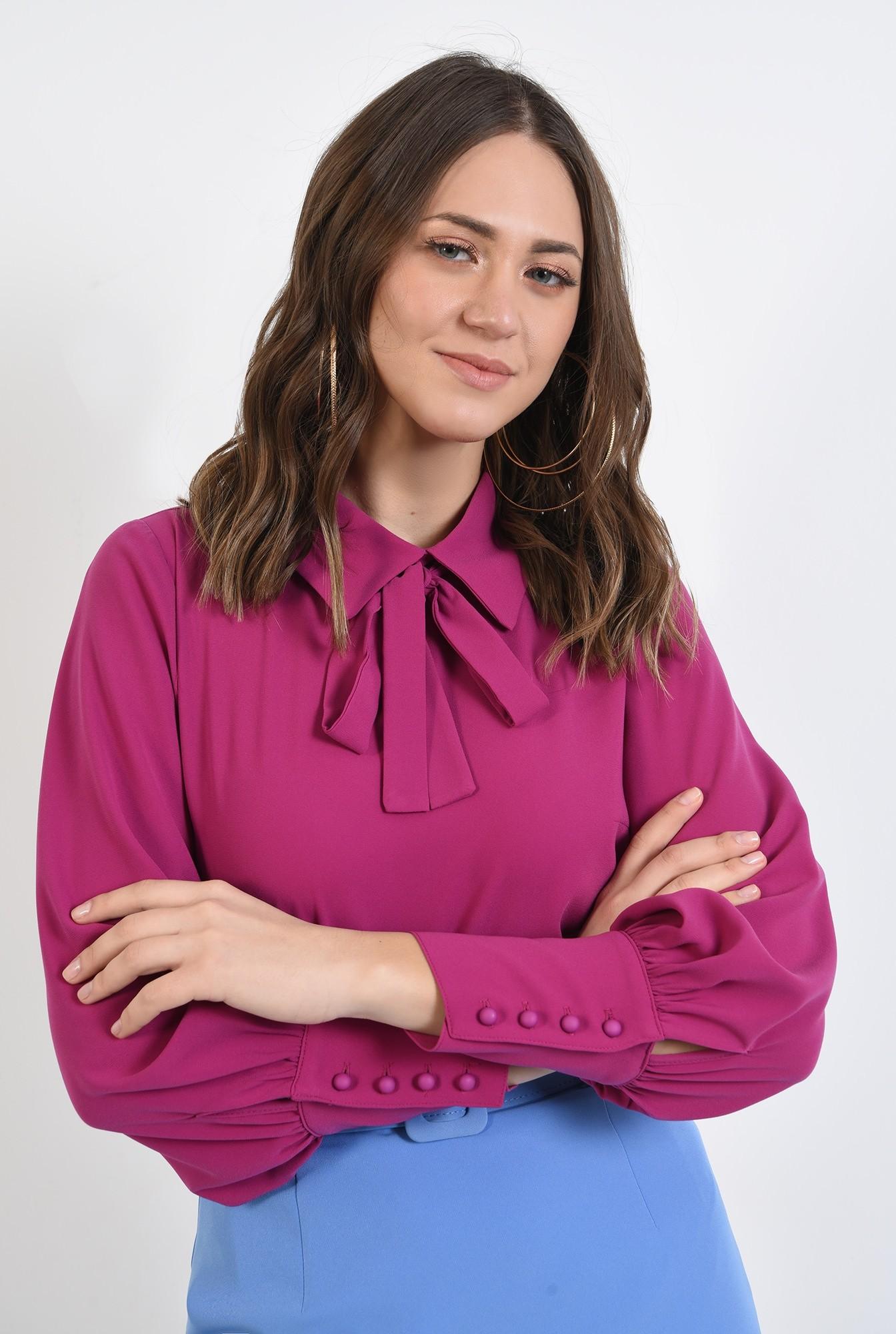 bluza ciclamen, dreapta, office, cu guler, cu funda