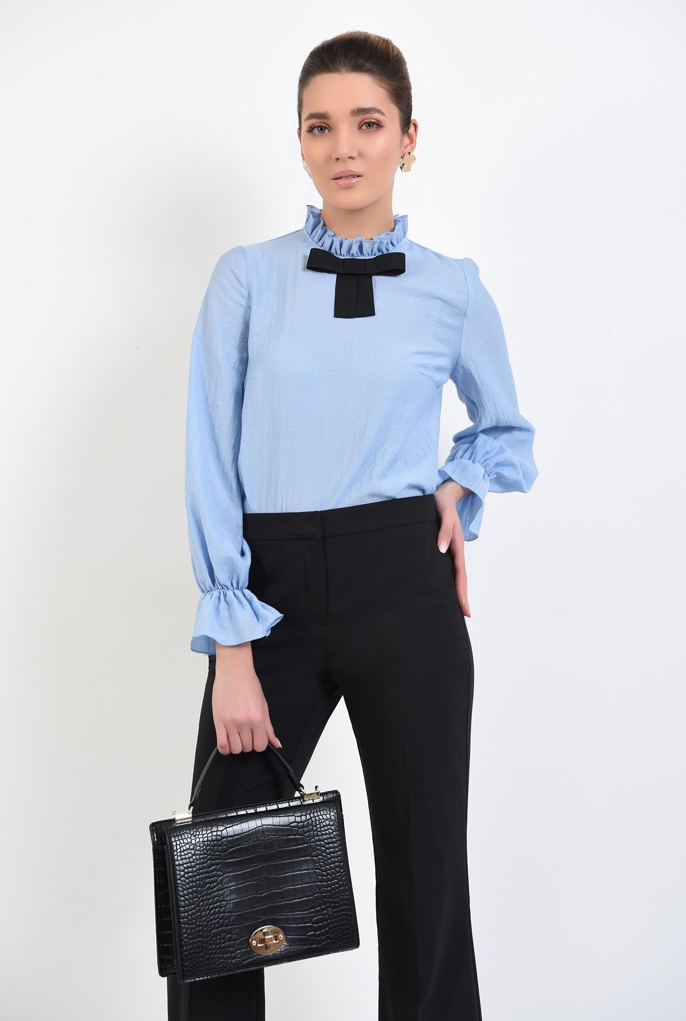 bluza office, bleu, cu funda, mansete volan, guler incretit