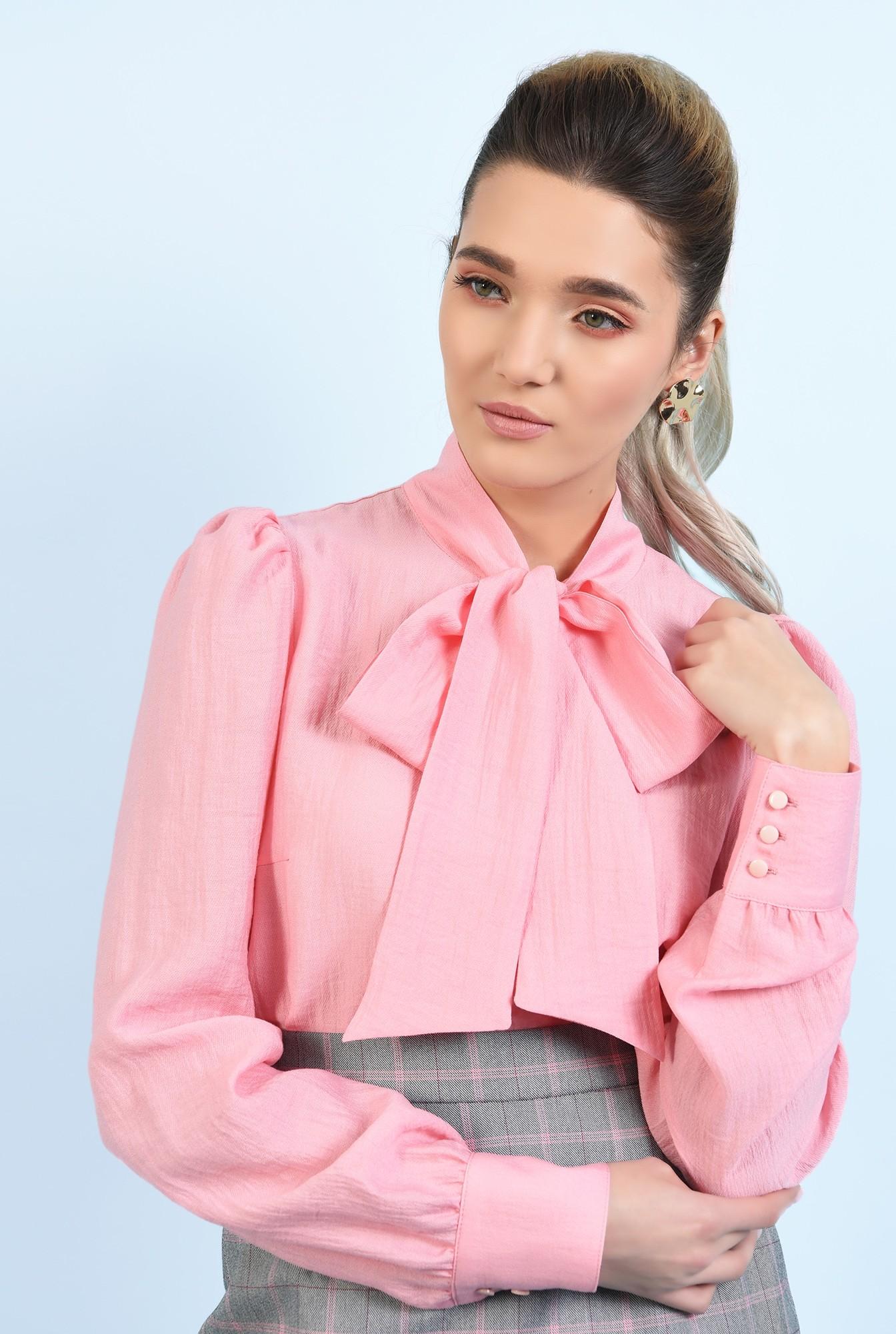 bluza casual, roz, cu funda, maneci lungi, Poema
