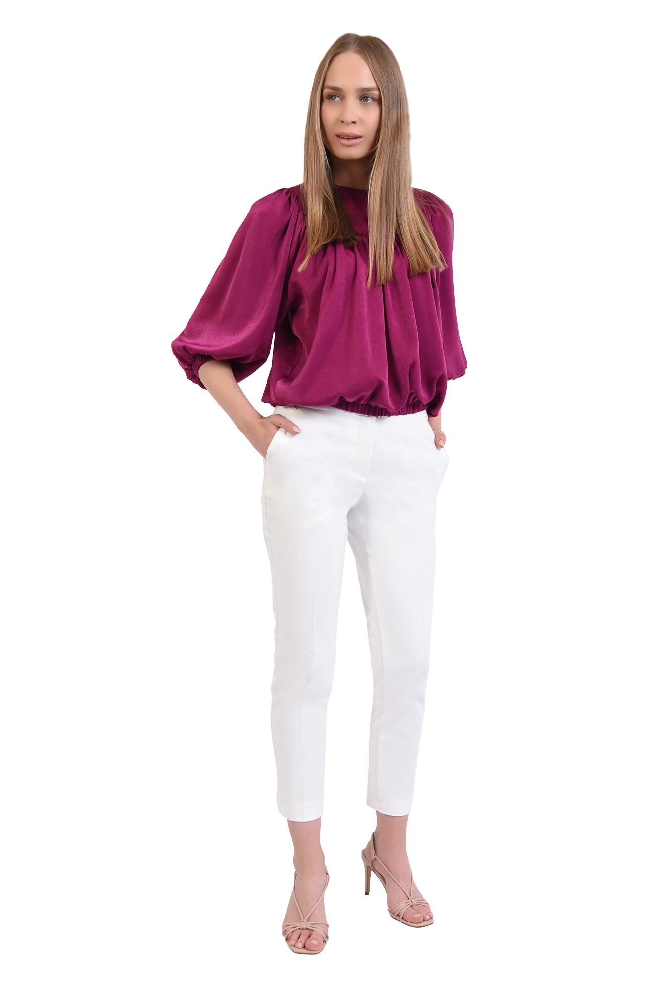 360 - bluza eleganta, din satin, cu platca, maneci bufante