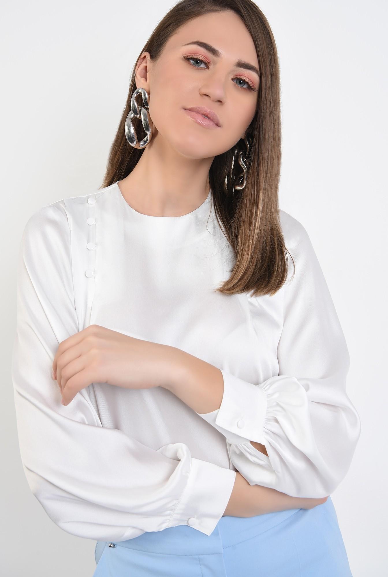 bluza eleganta, cu nasturi decorativi, maneci lungi, din satin