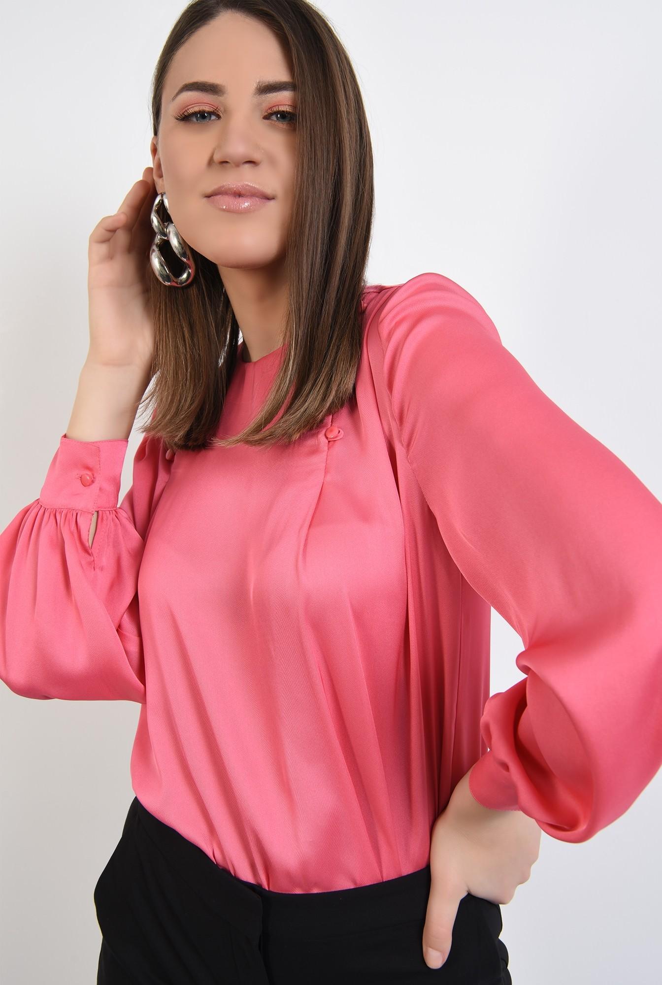 bluza eleganta, cu nasturi decorativi, maneci lungi, din satin, bluza de ocazie