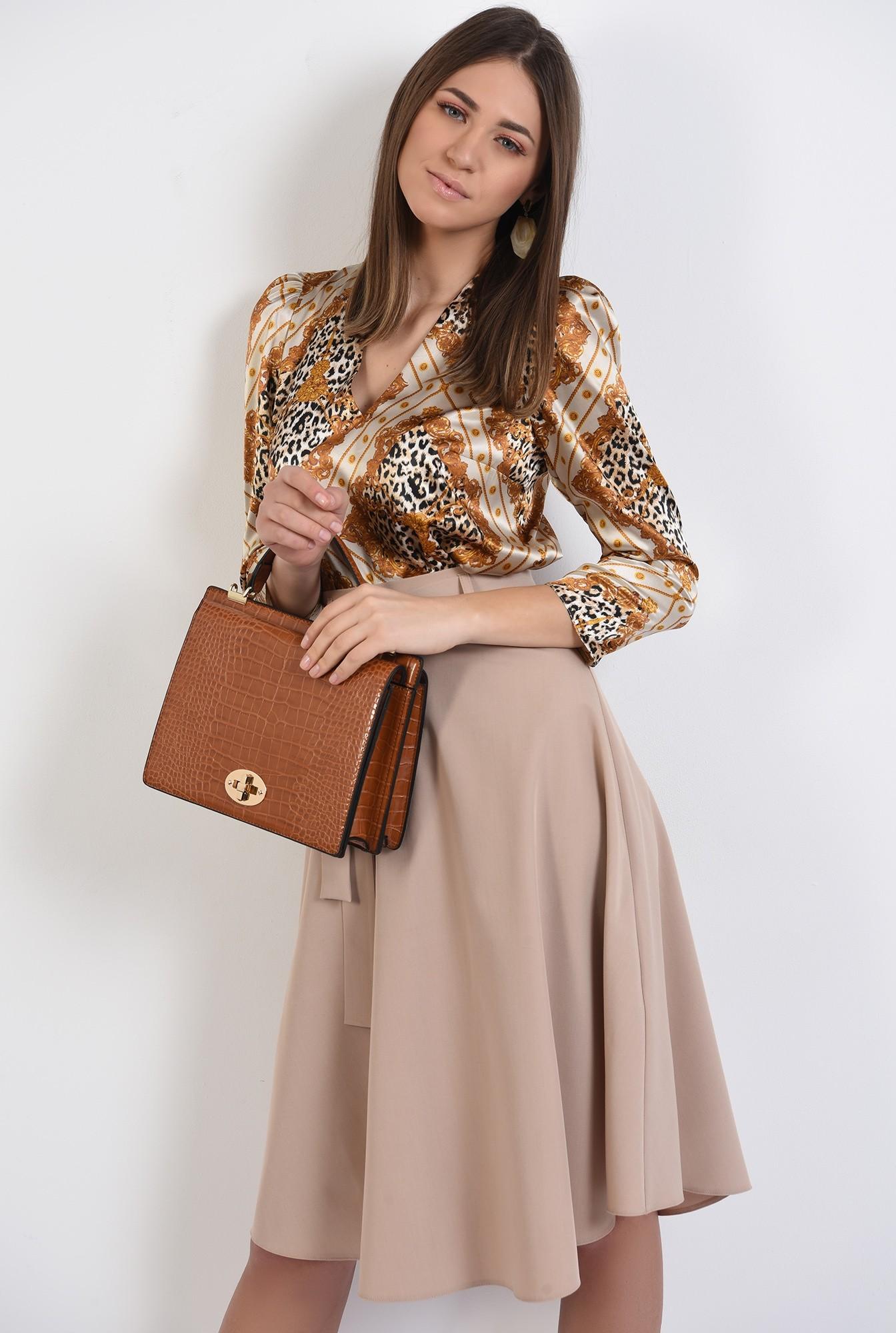 bluza eleganta, din satin, cu imprimeu, animal print, bluza de primavara