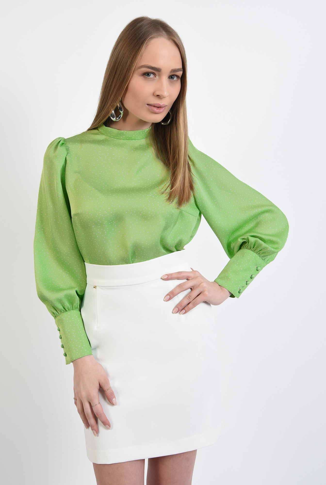 bluza casual, cu buline, maneci bufante, bluza de primavara