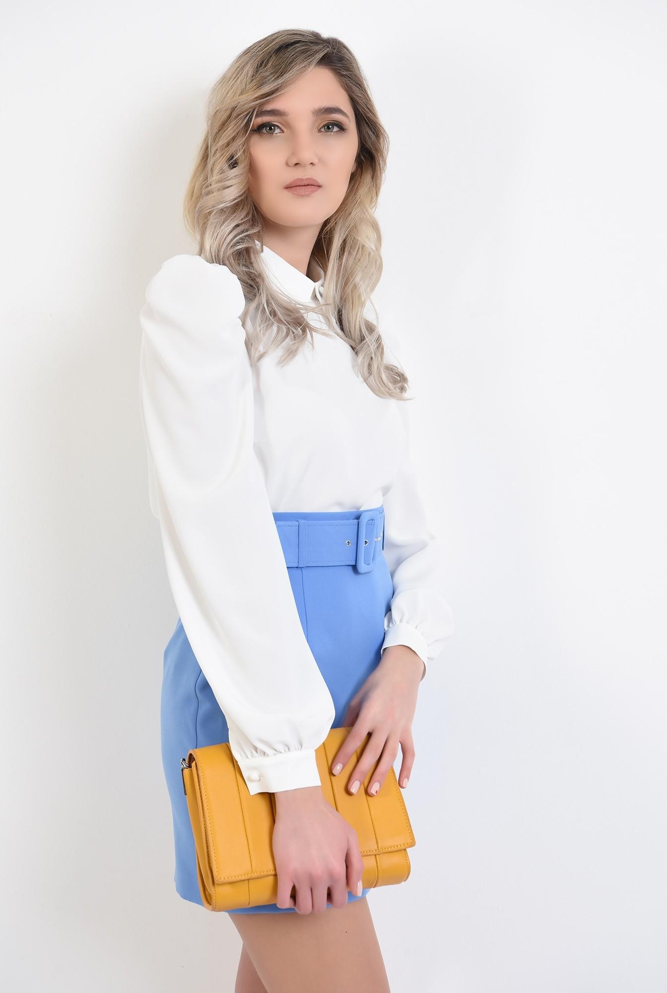 bluza office, maneca lunga, guler rotunjit, ivoar, bluza de primavara