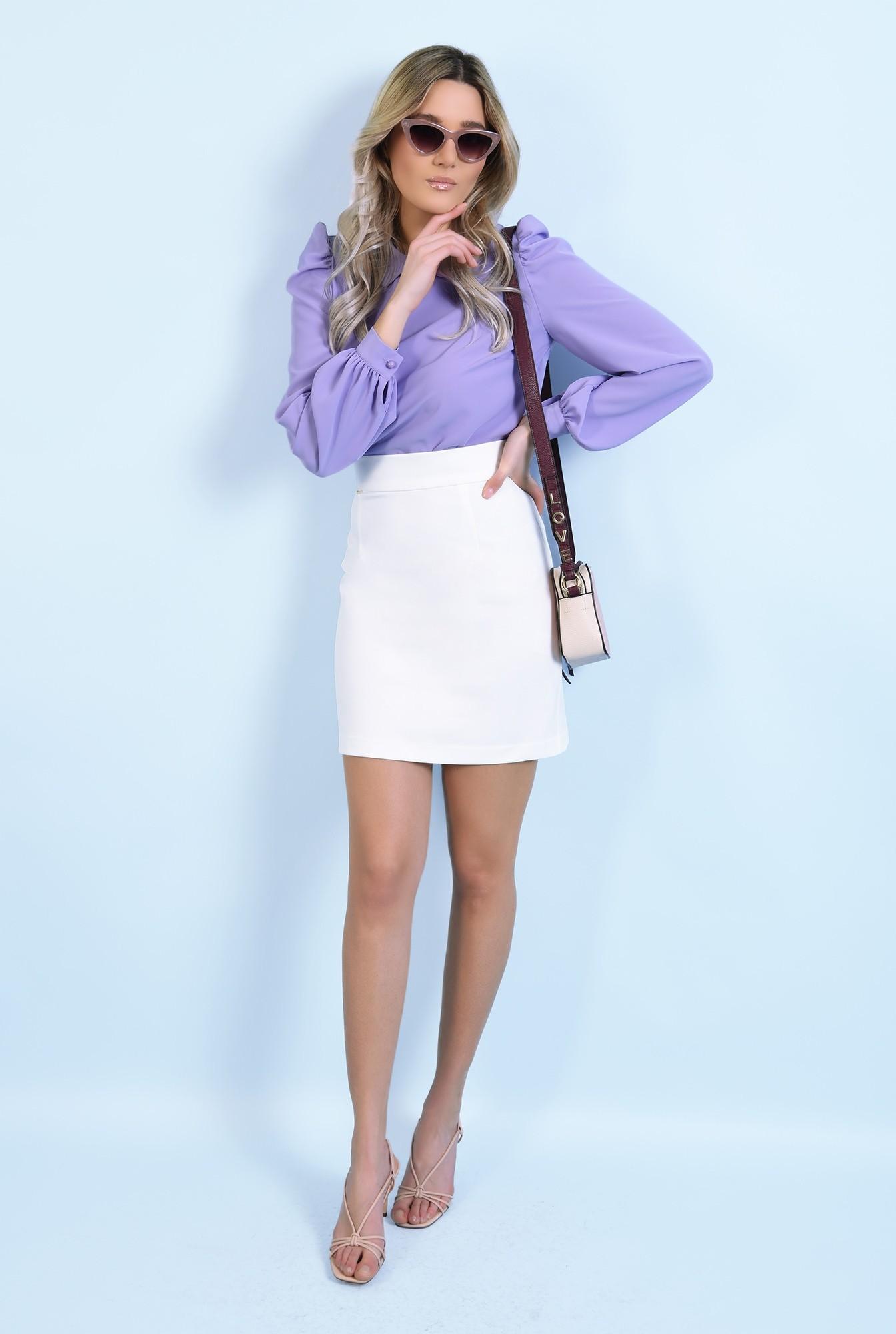 360 - bluza casual, lila, cu guler rotunjit, maneci lungi, inchidere cu butoniera