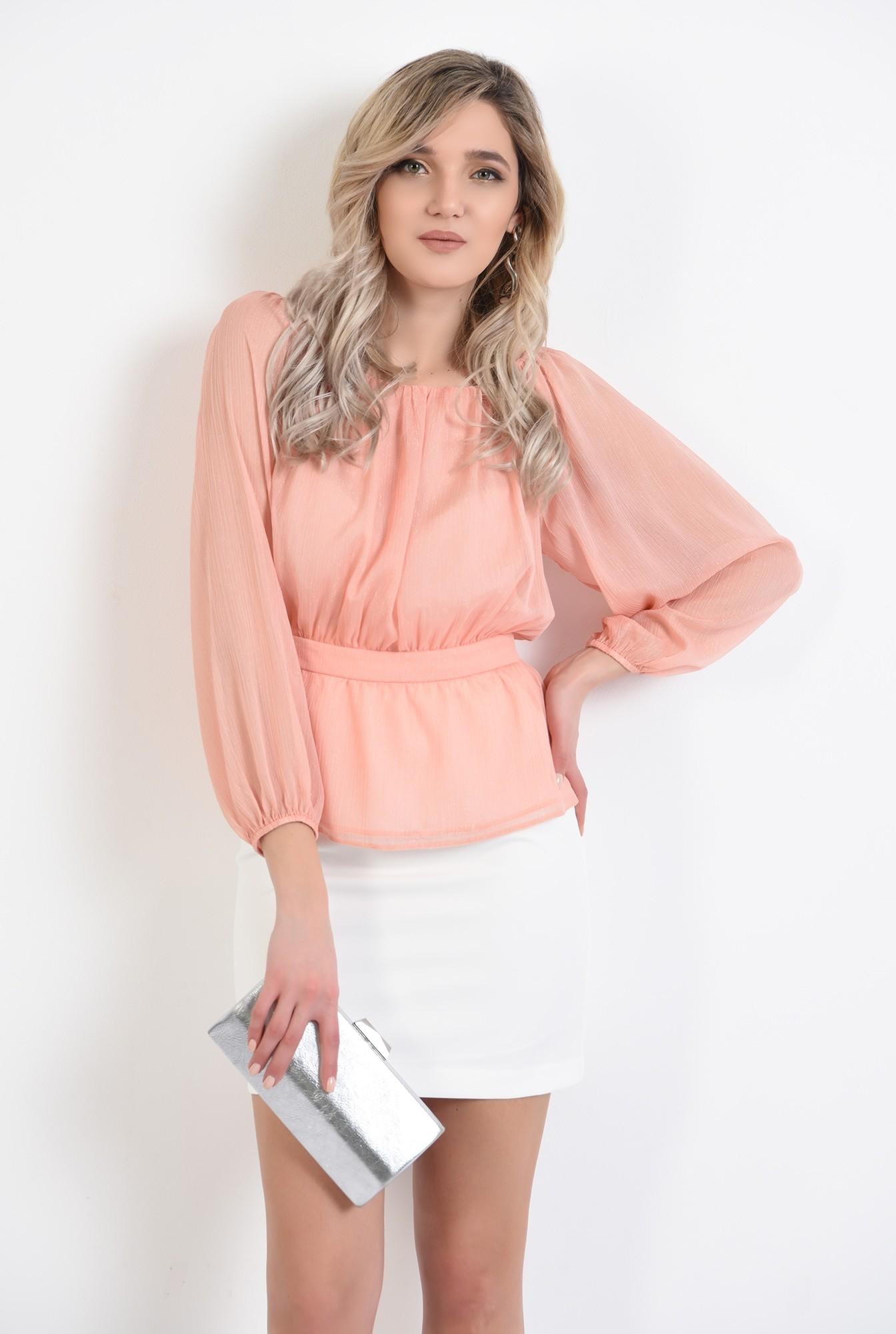 bluza de ocazie, peach, maneca midi, cu peplum, nasturi la spate