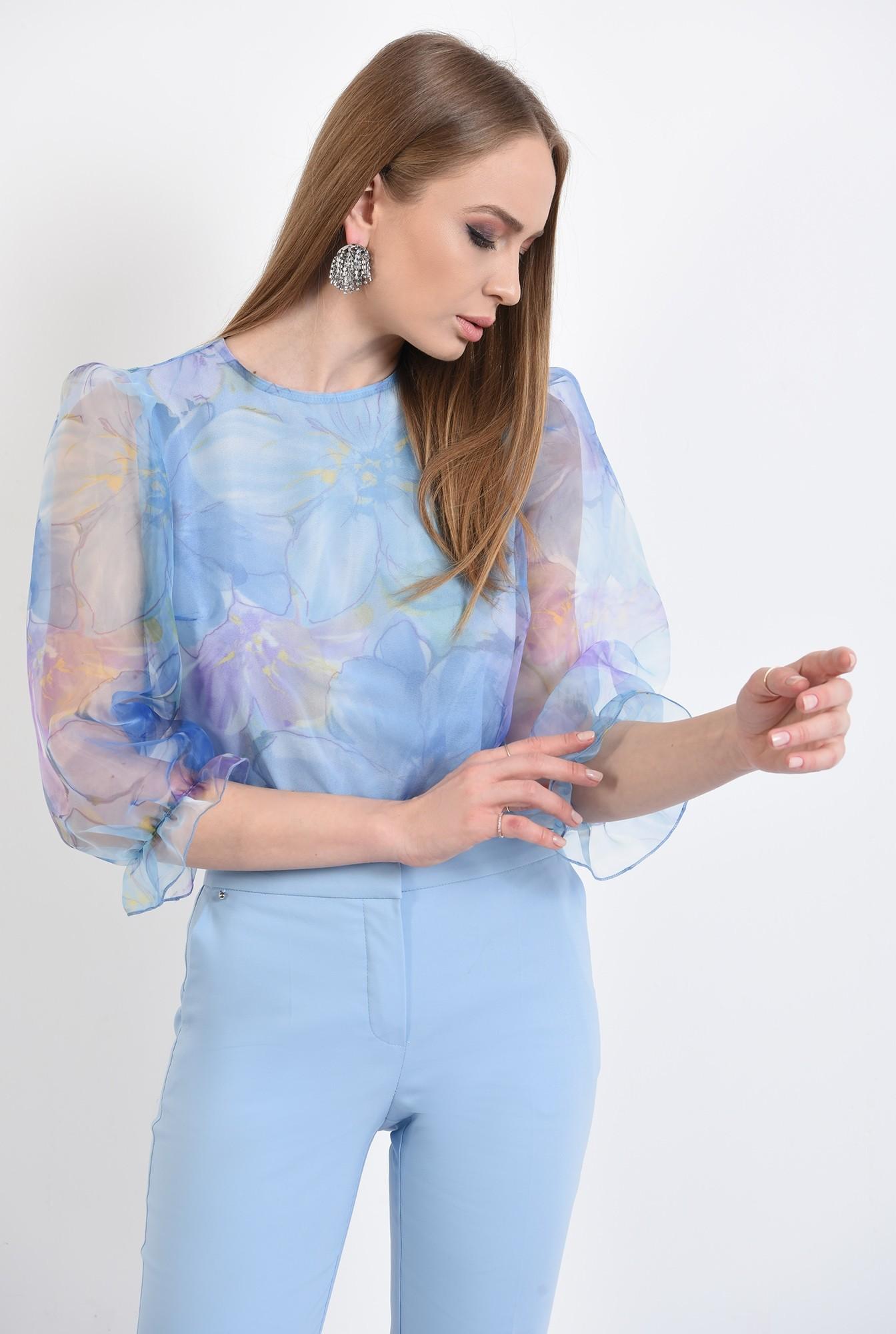 bluza eleganta, din organza, cu imprimeu, cu maneci bufante, funde la spate