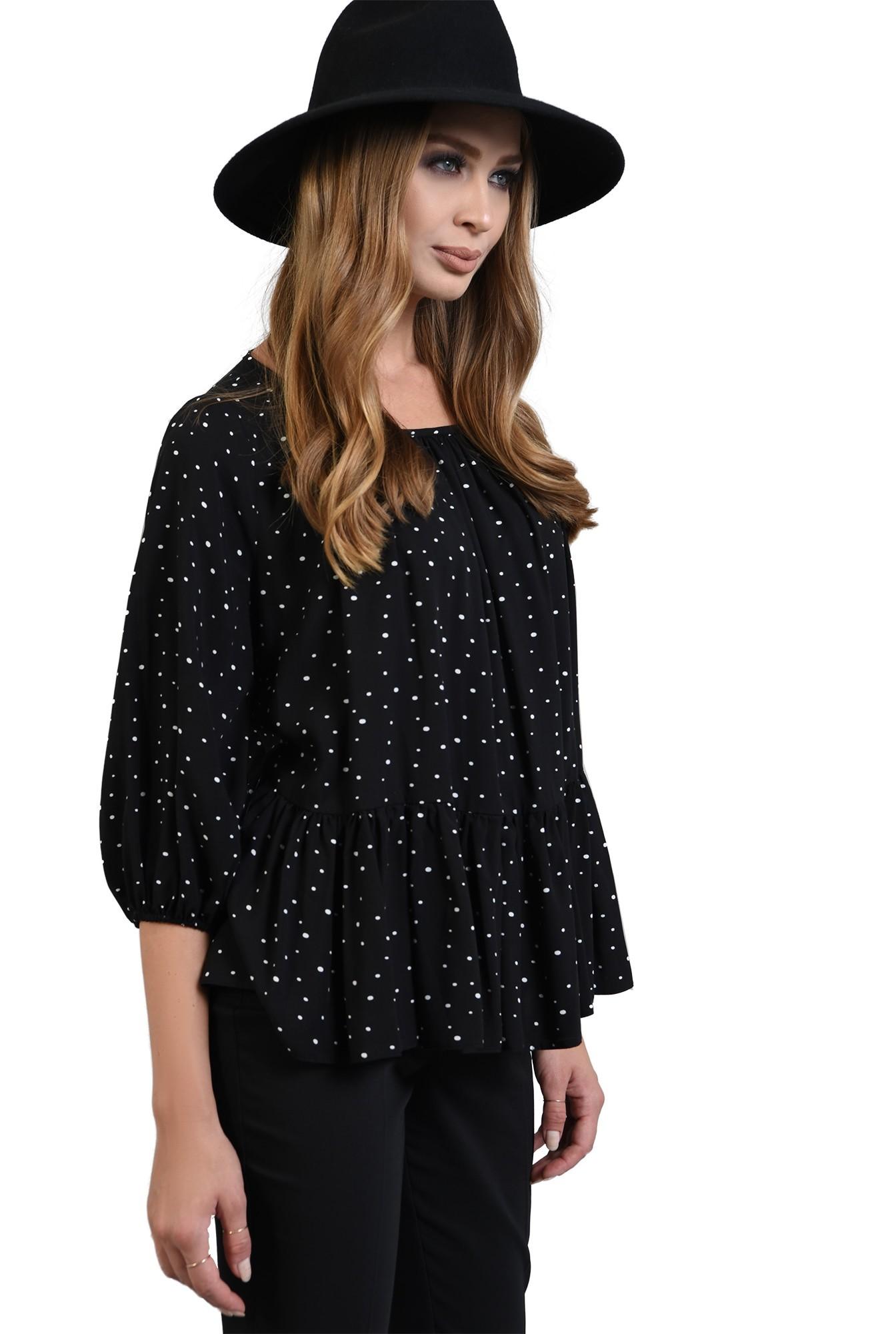 bluza neagra cu buline, peplum, Poema