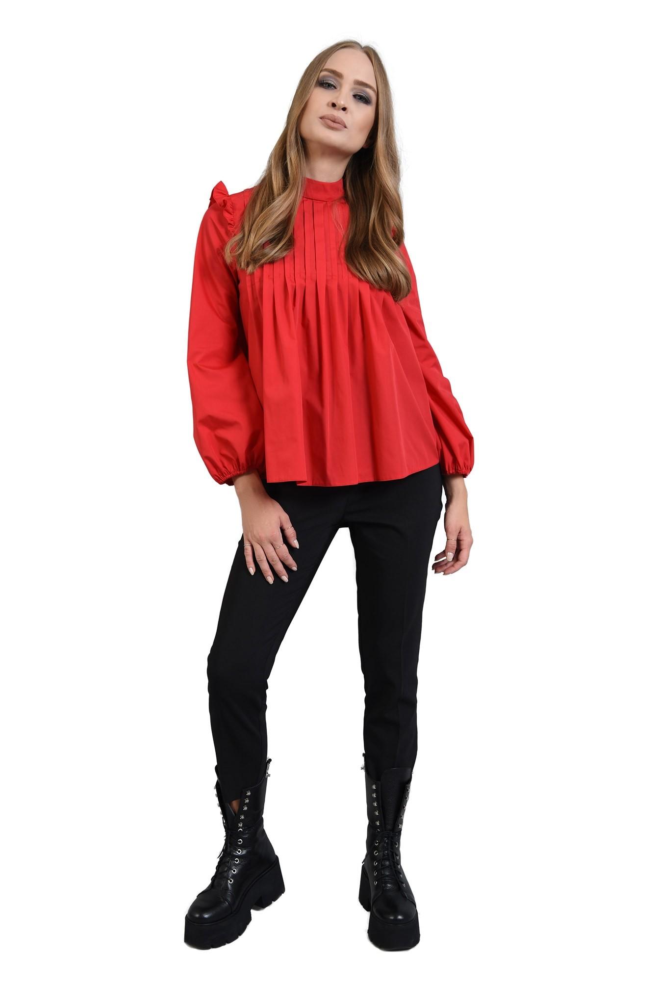 360 - bluza rosie din bumbac, cu pliuri si volan, Poema