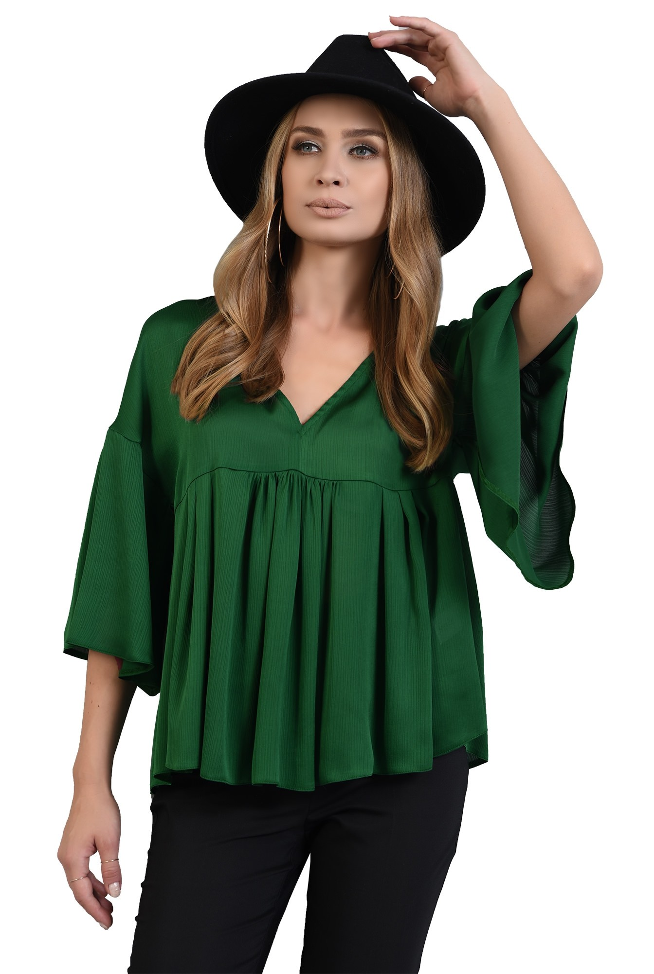 bluza larga, verde, cu peplum
