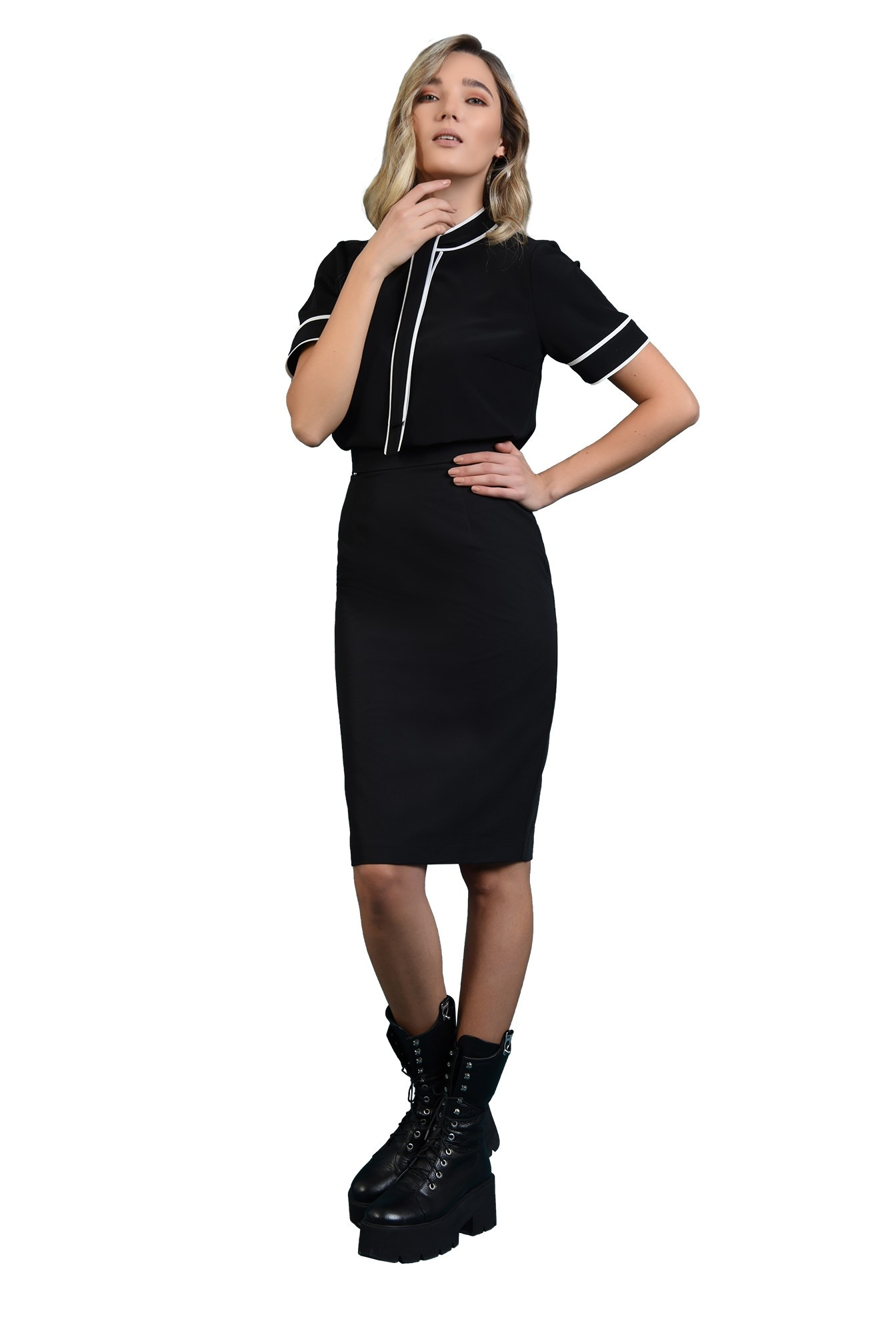 bluza casual, neagra, cu esarfa la baza gatului