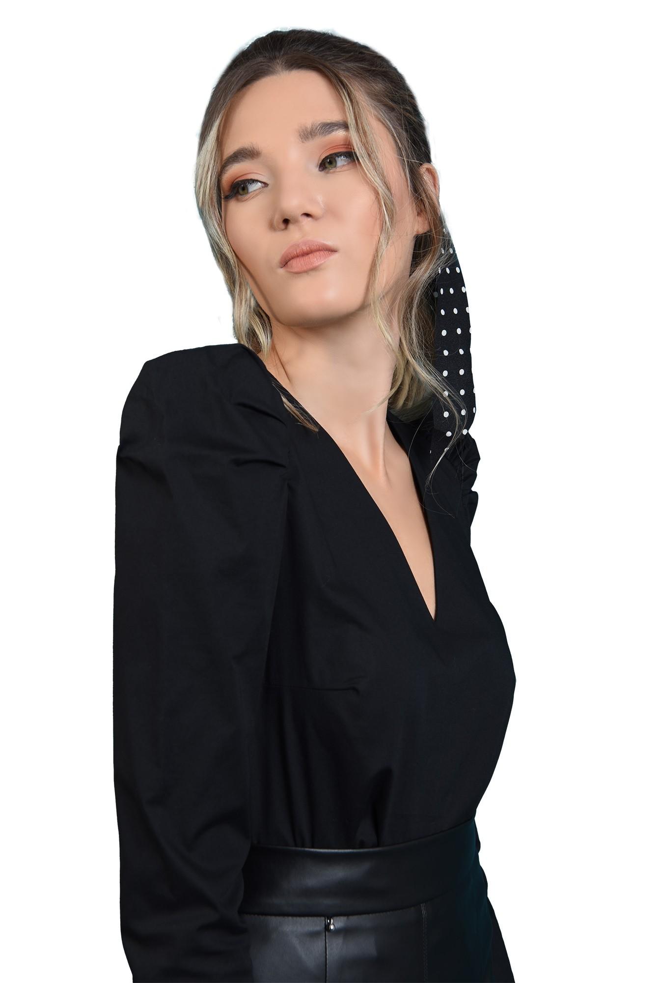 360 - bluza casual, neagra, cu maneca lunga, cu decolteu in V