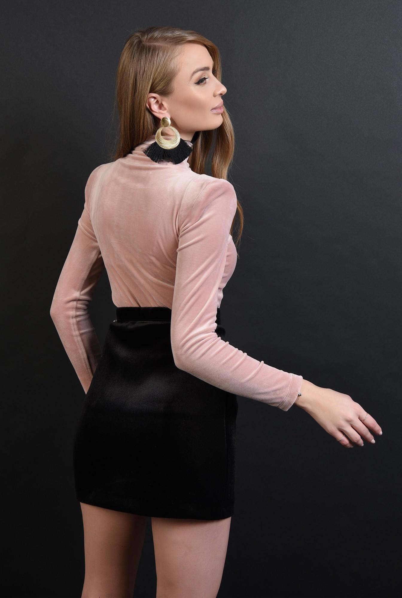 bluza roz, din catifea, cu guler inalt, Poema