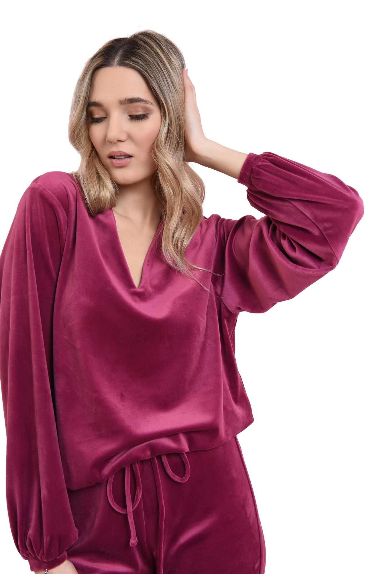 bluza casual, din catifea, mov, cu maneca ampla