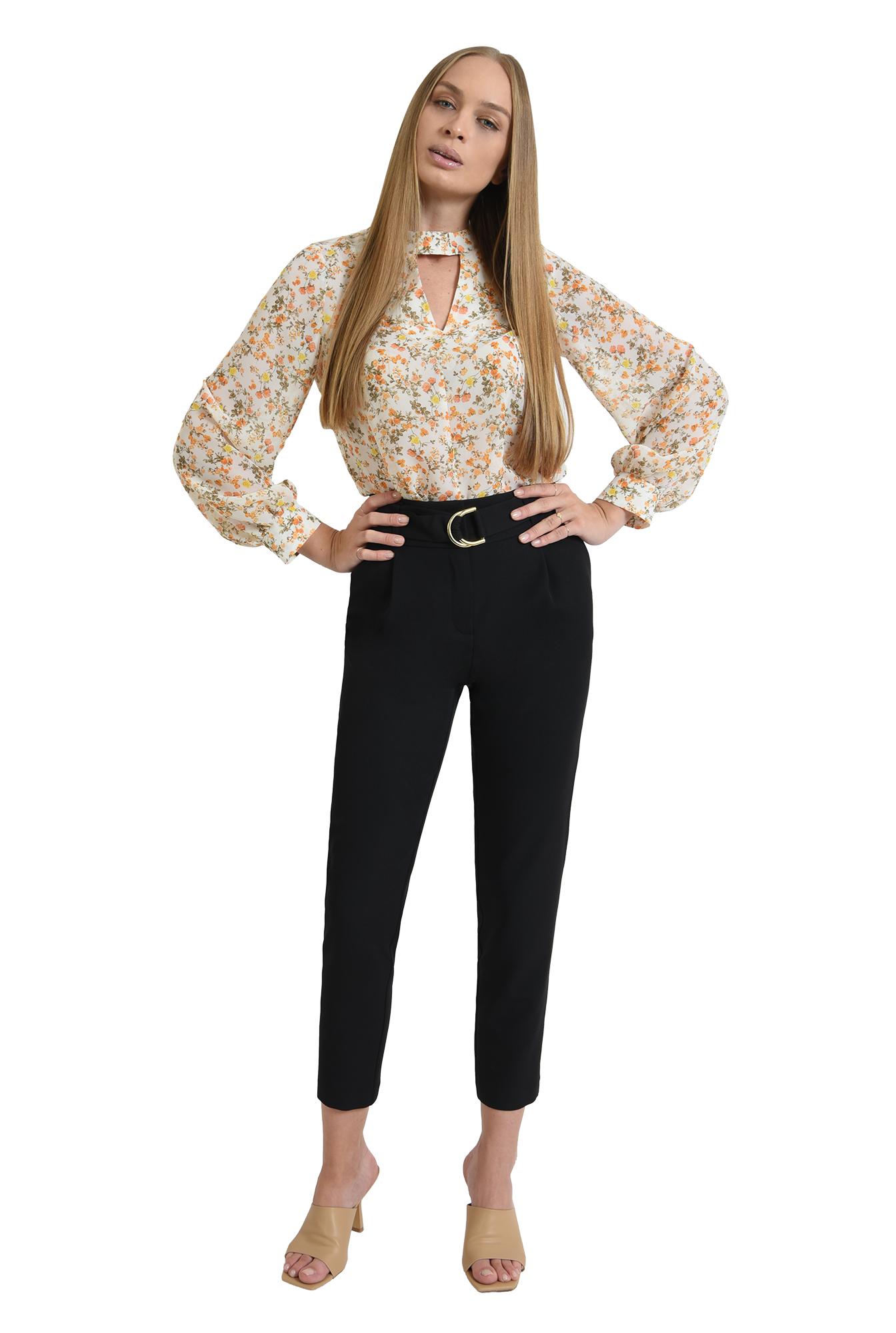 bluza de zi, cu motive florale, cu maneca lunga
