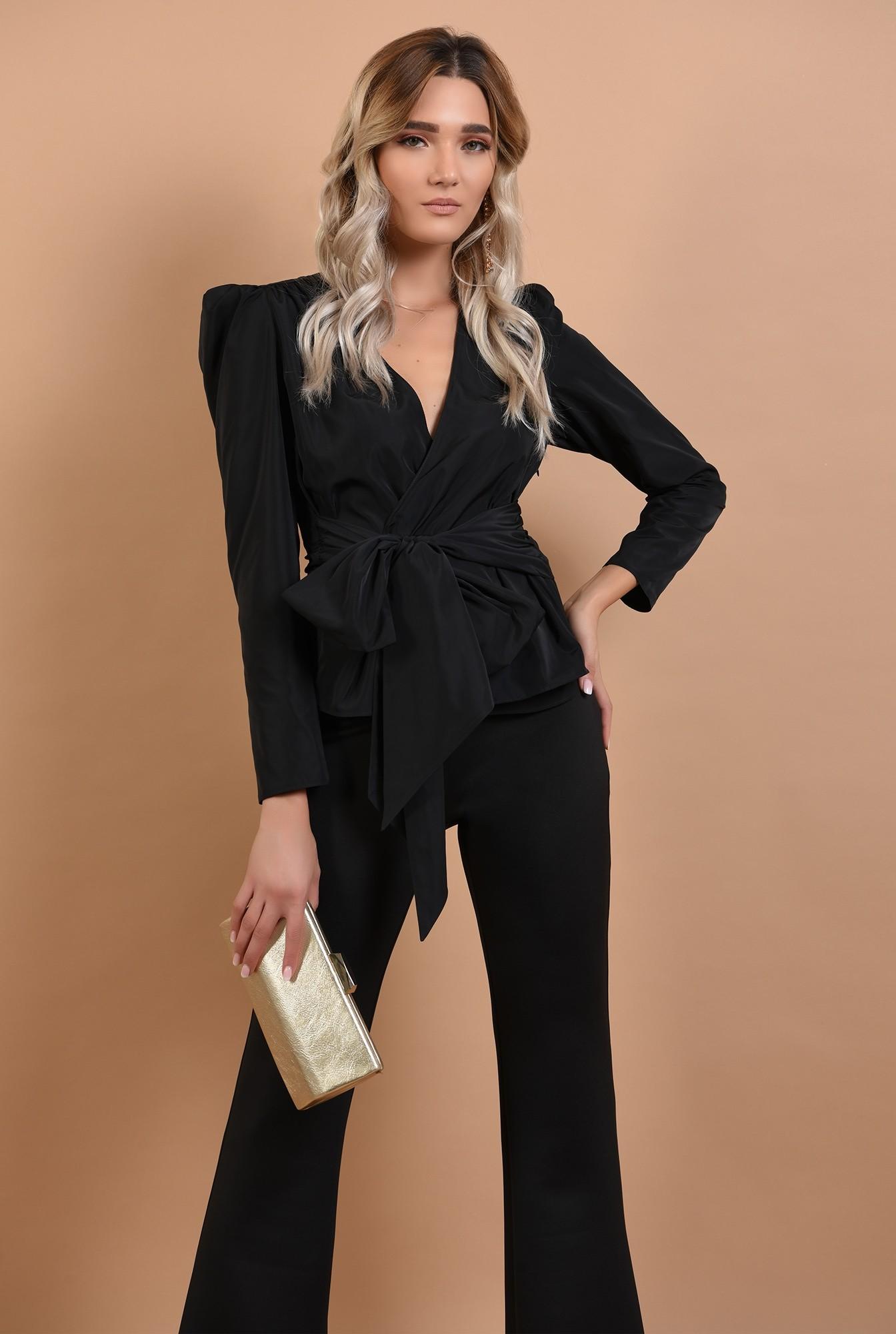 bluza eleganta, neagra, cambrata, cu funda la talie, cret la umeri