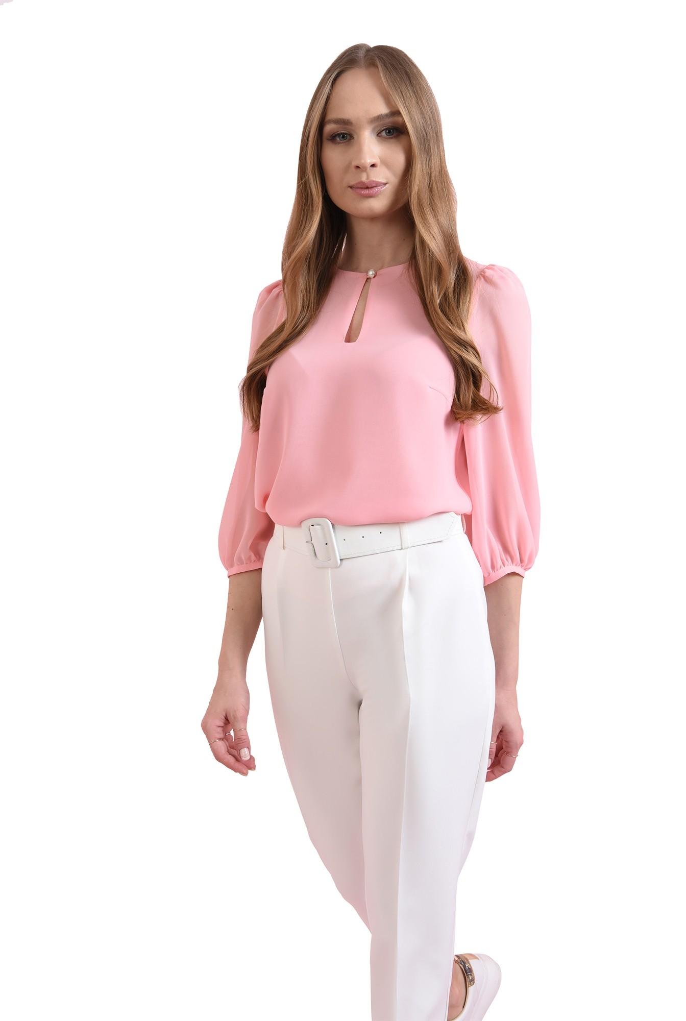 bluza casual, roz, cu nasture