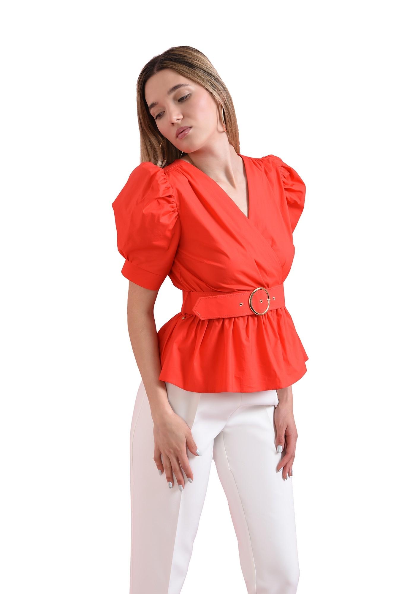 bluza din bumbac, rosie, cu centura