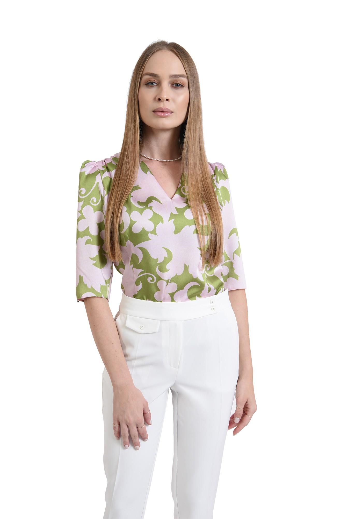 bluza din satin, cu motive florale