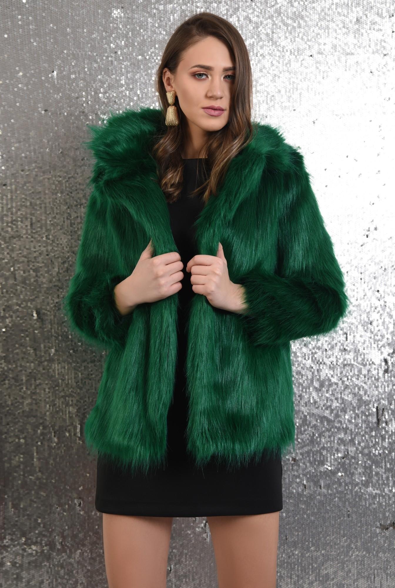 haina din blana ecologica, dreapta, guler cu revere, verde