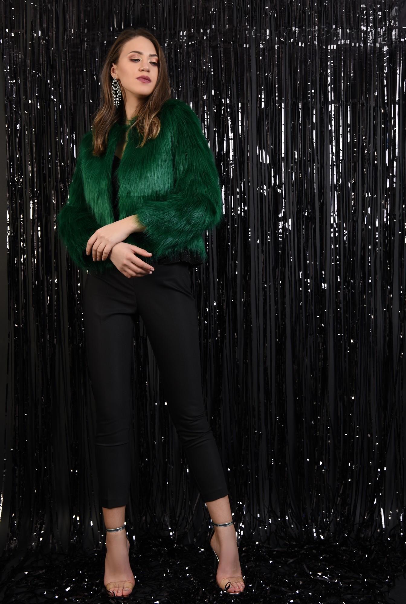 jacheta verde, blana artificiala, maneci lungi