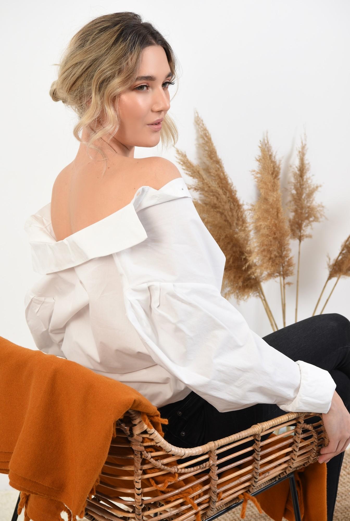 bluza eleganta, cu maneci bufante, cu funde, organza, bluza de ocazie