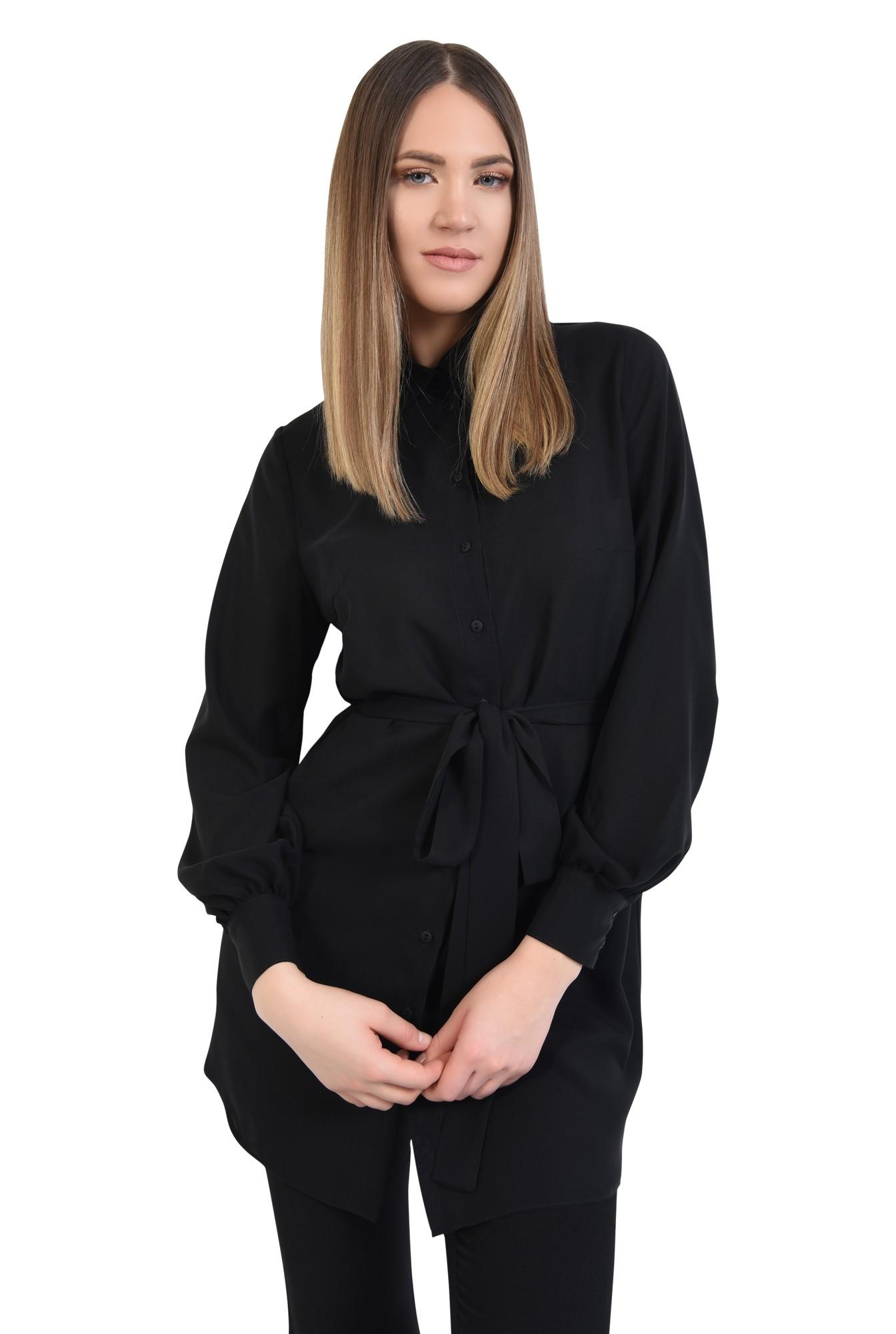 camasa lunga, neagra, cu cordon, funda la talie, tunica