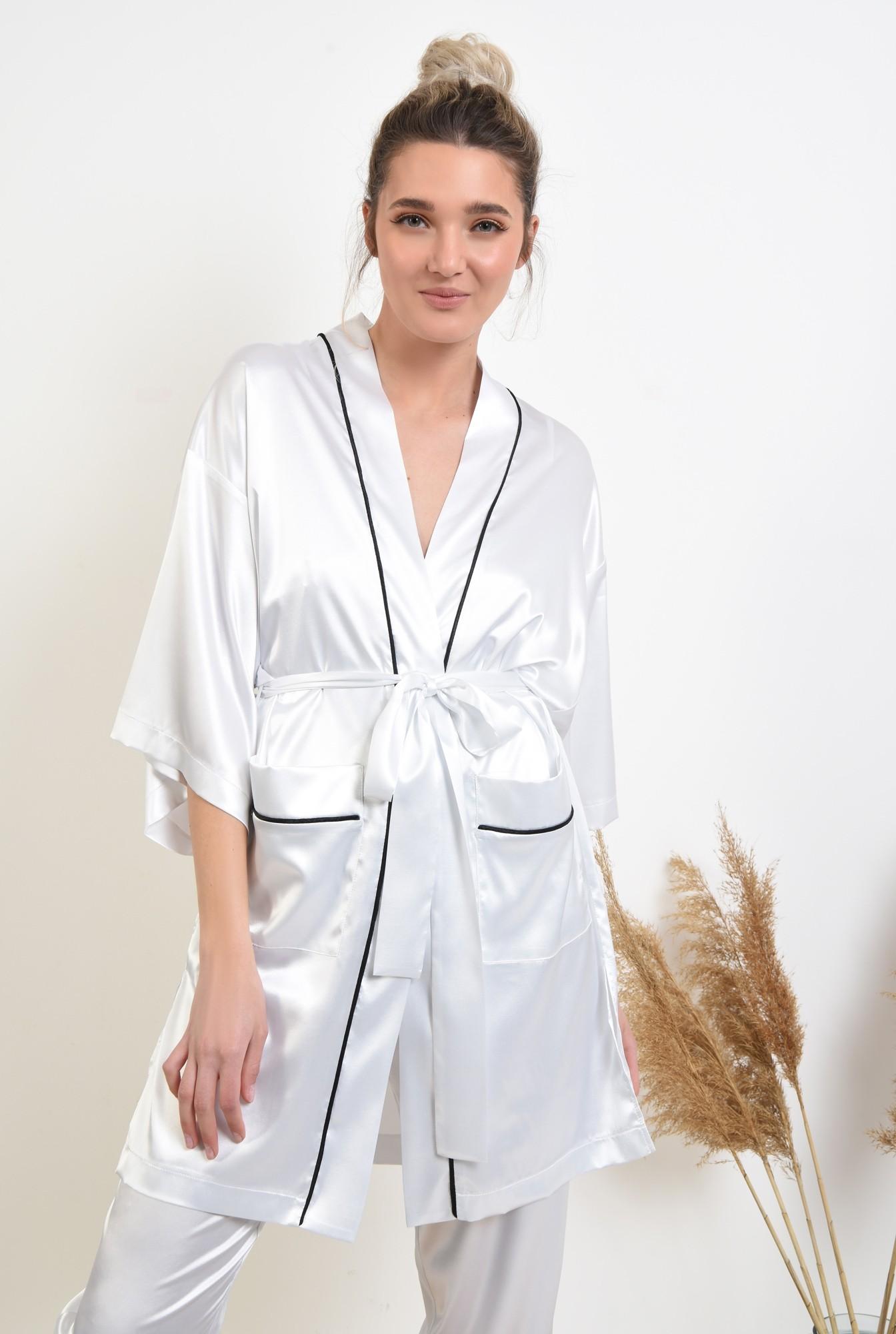 halat din satin, alb, cu insertii in contrast, cu buzunare, cu cordon