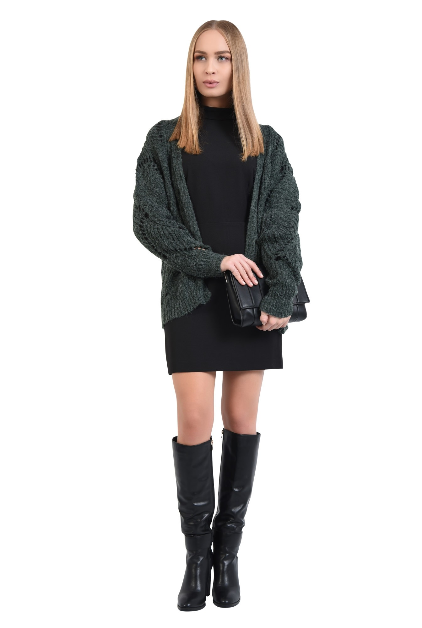 360 - pulover verde, jacheta tricotata, motive ajurate, cu ochiuri largi