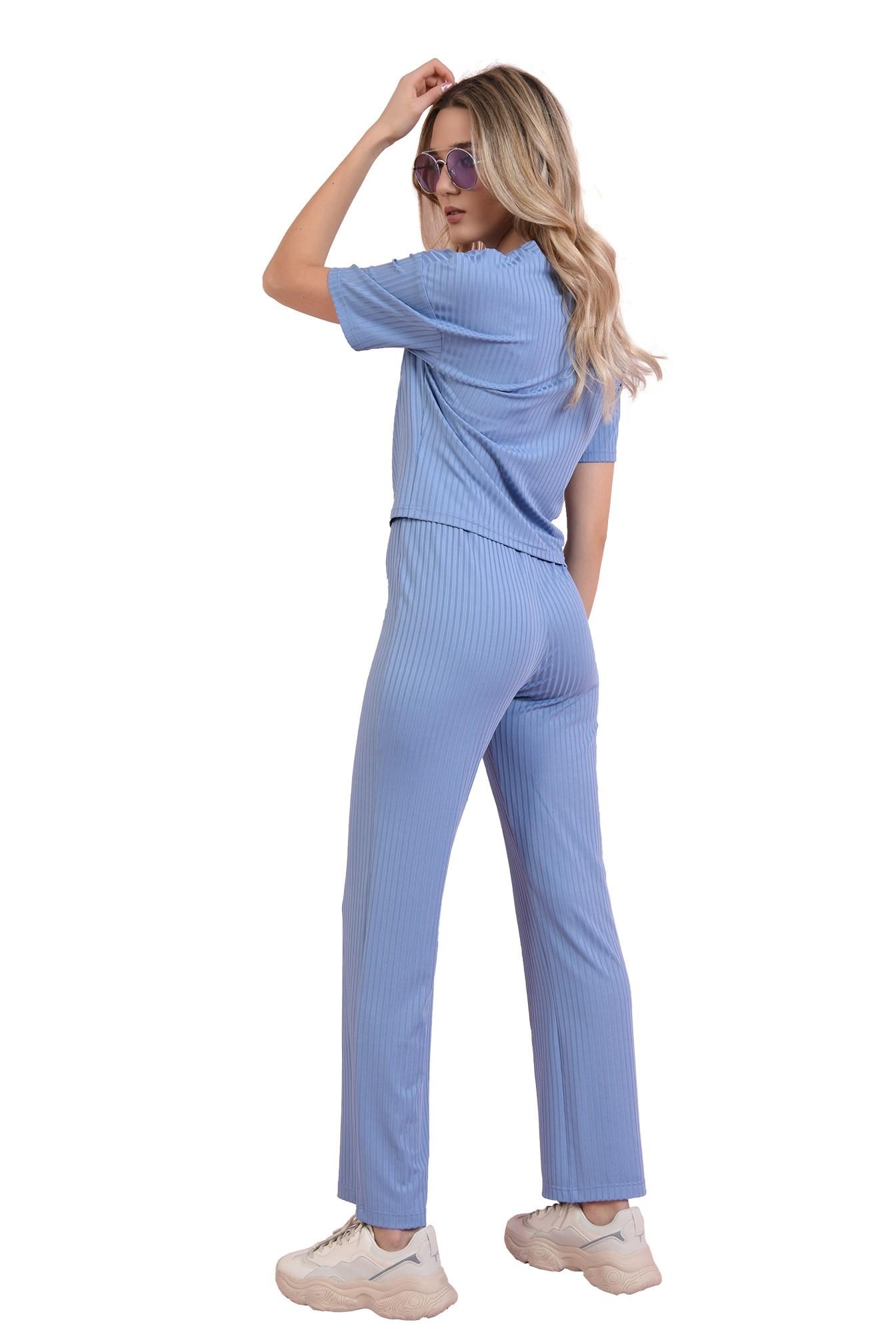 compleu bleu, casual, cu pantaloni cullotes