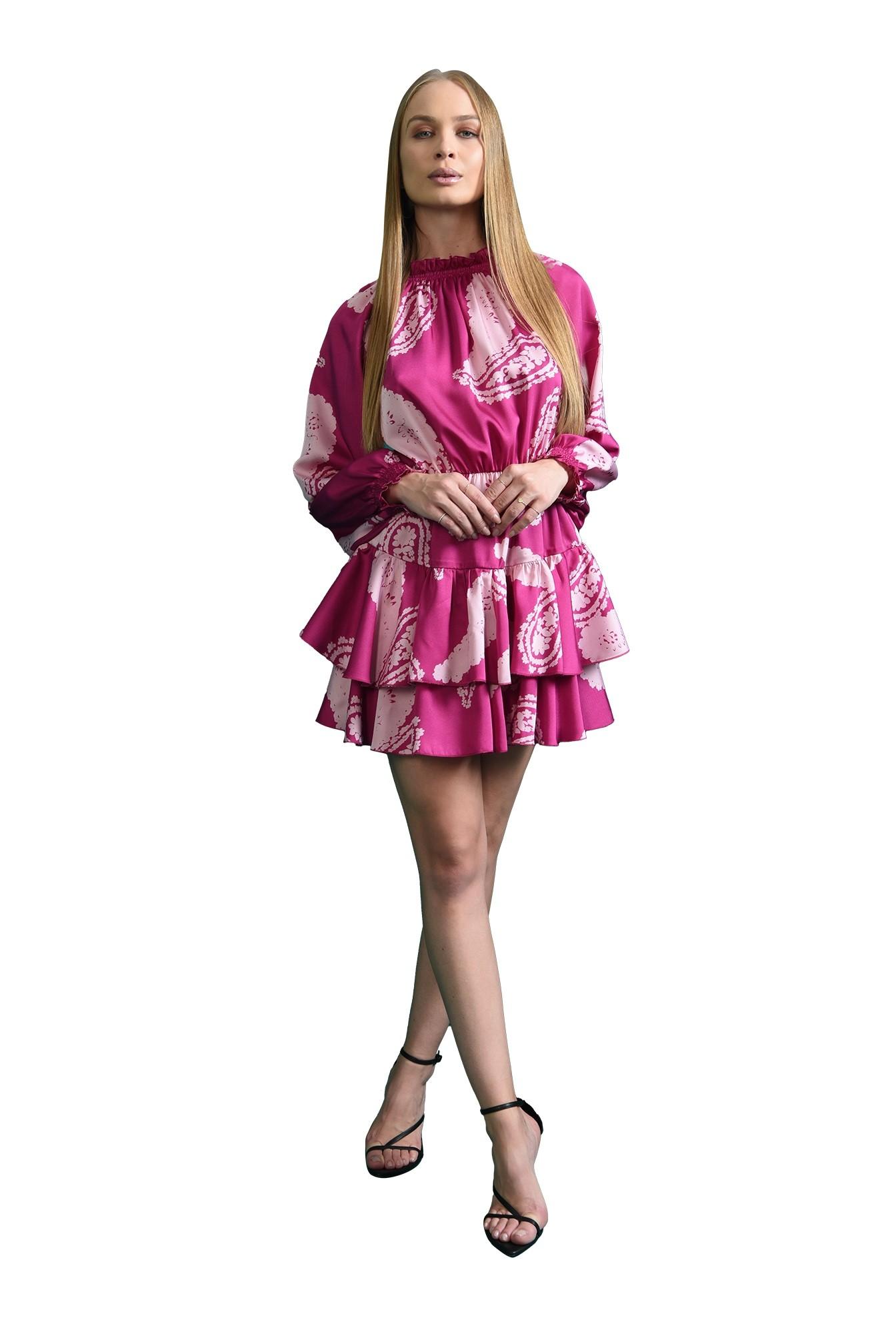 rochie casual, magenta, cu volane
