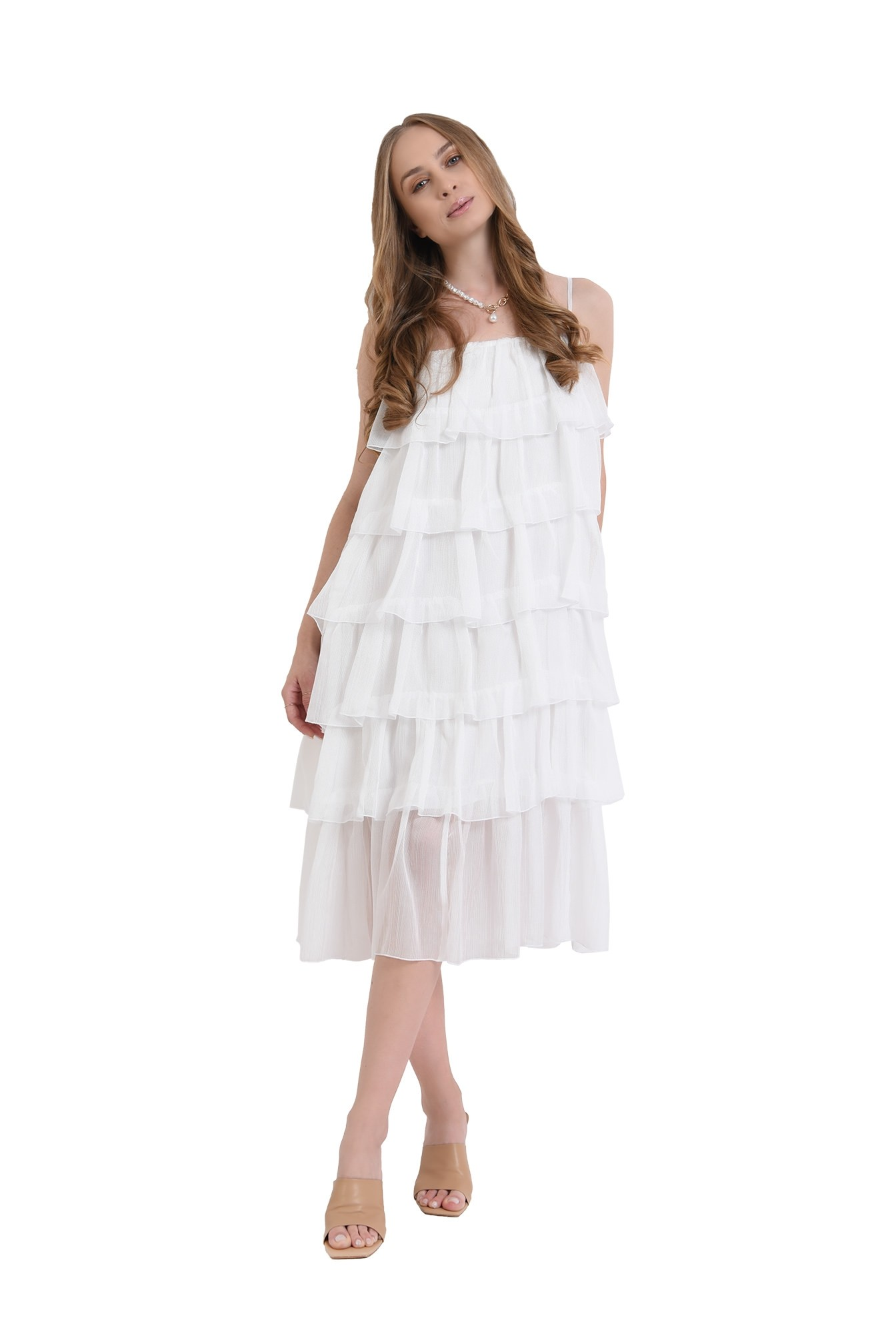 rochie midi, alba, cu bretele subtiri