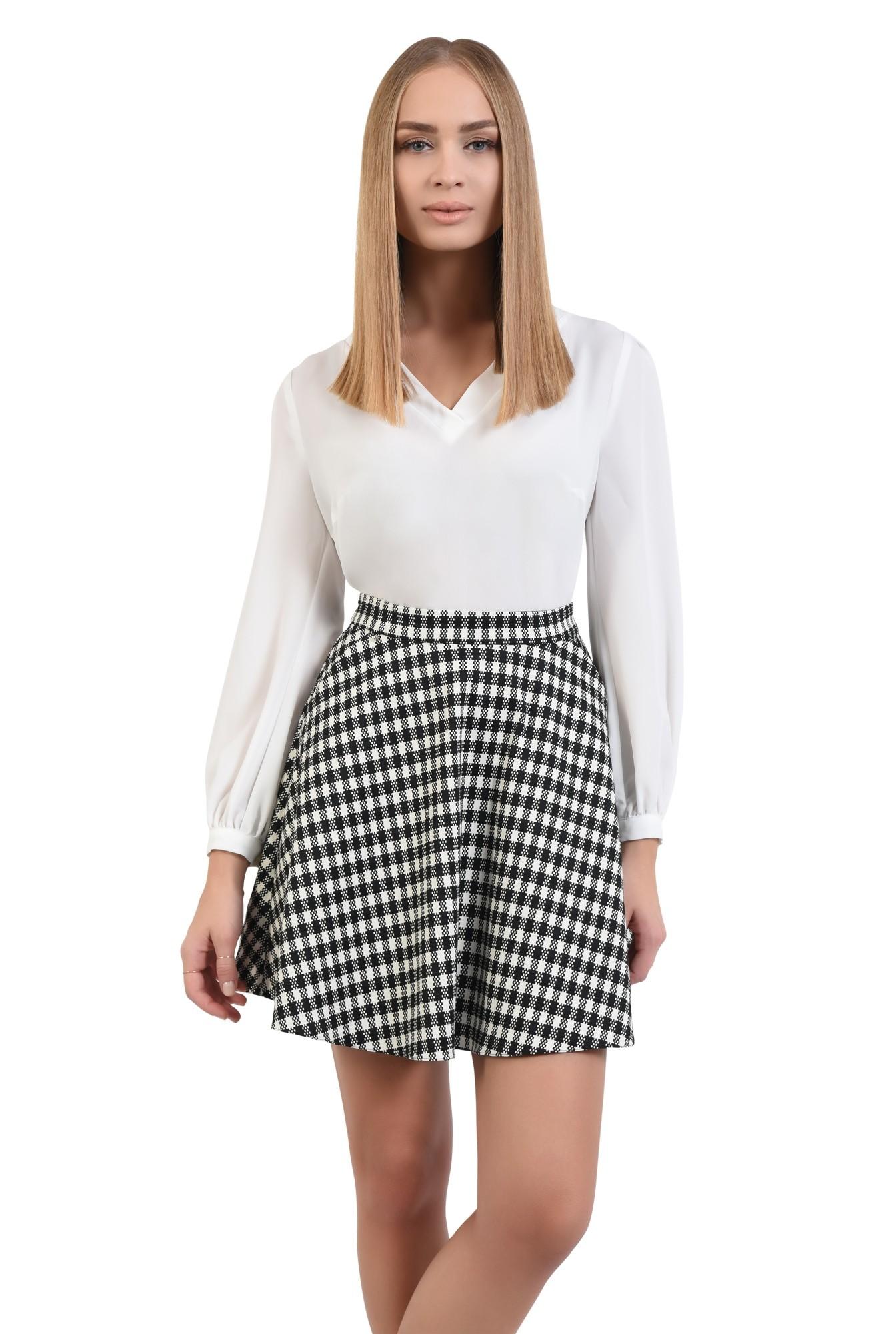 fusta casual, bie, alb-negru, carouri, imprimeu
