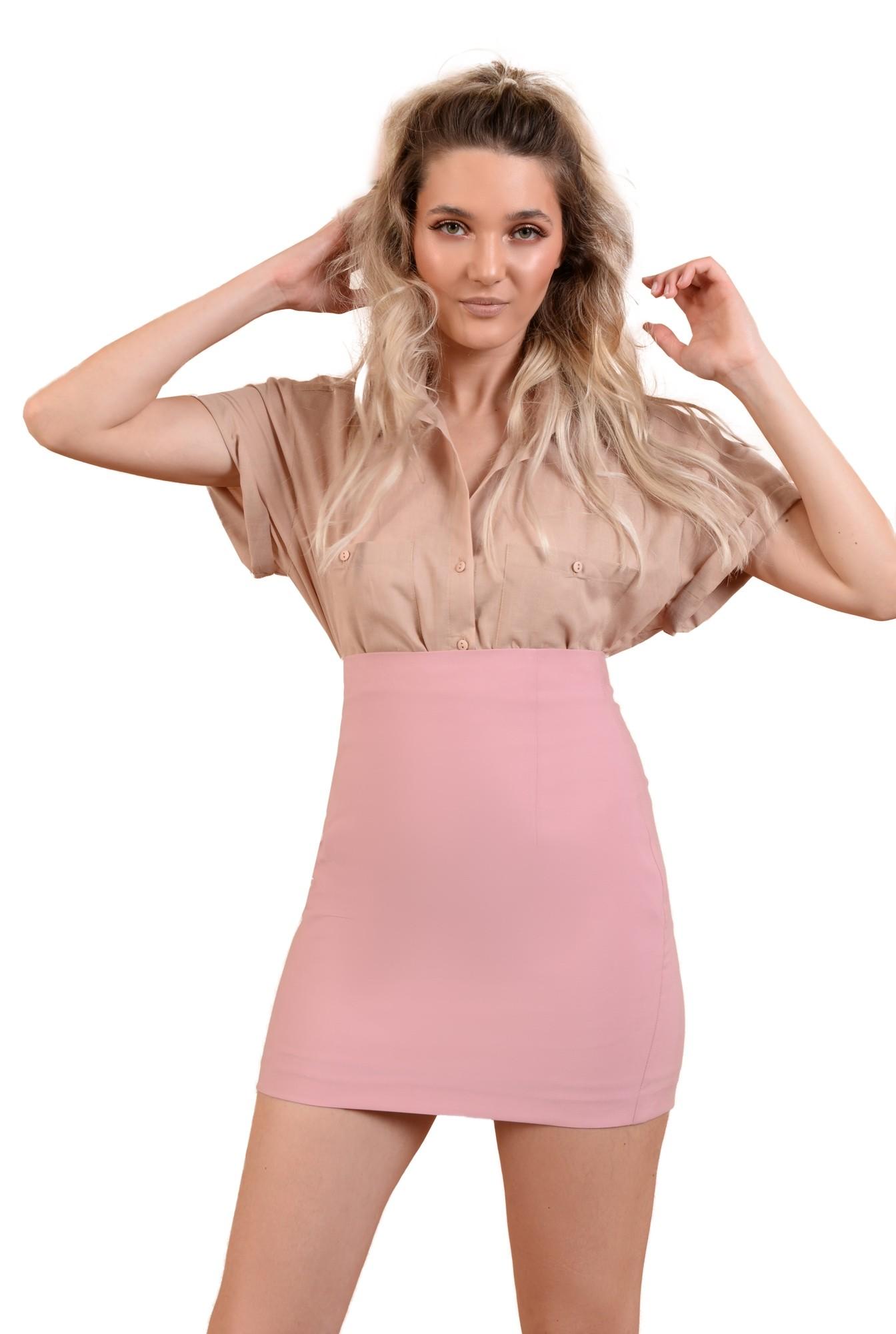 fusta mini, roz, talie inalta, croi ajustat