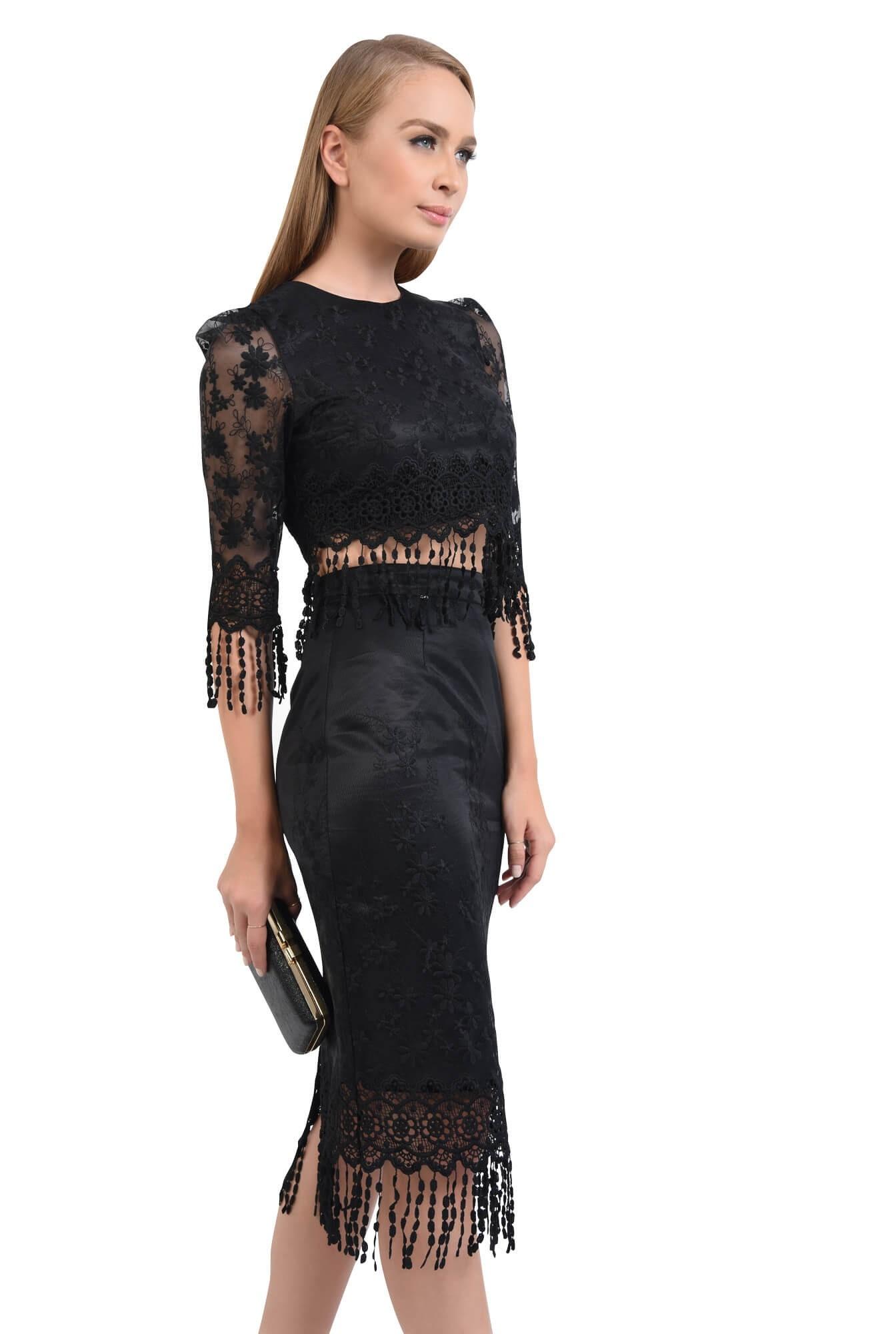 fusta eleganta, midi, conica, negru, broderie decupata