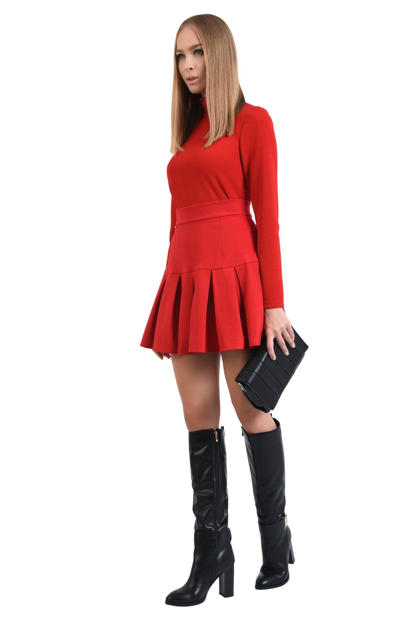 360 - fusta rosie, de zi, tesatura elastica, colectie toamna