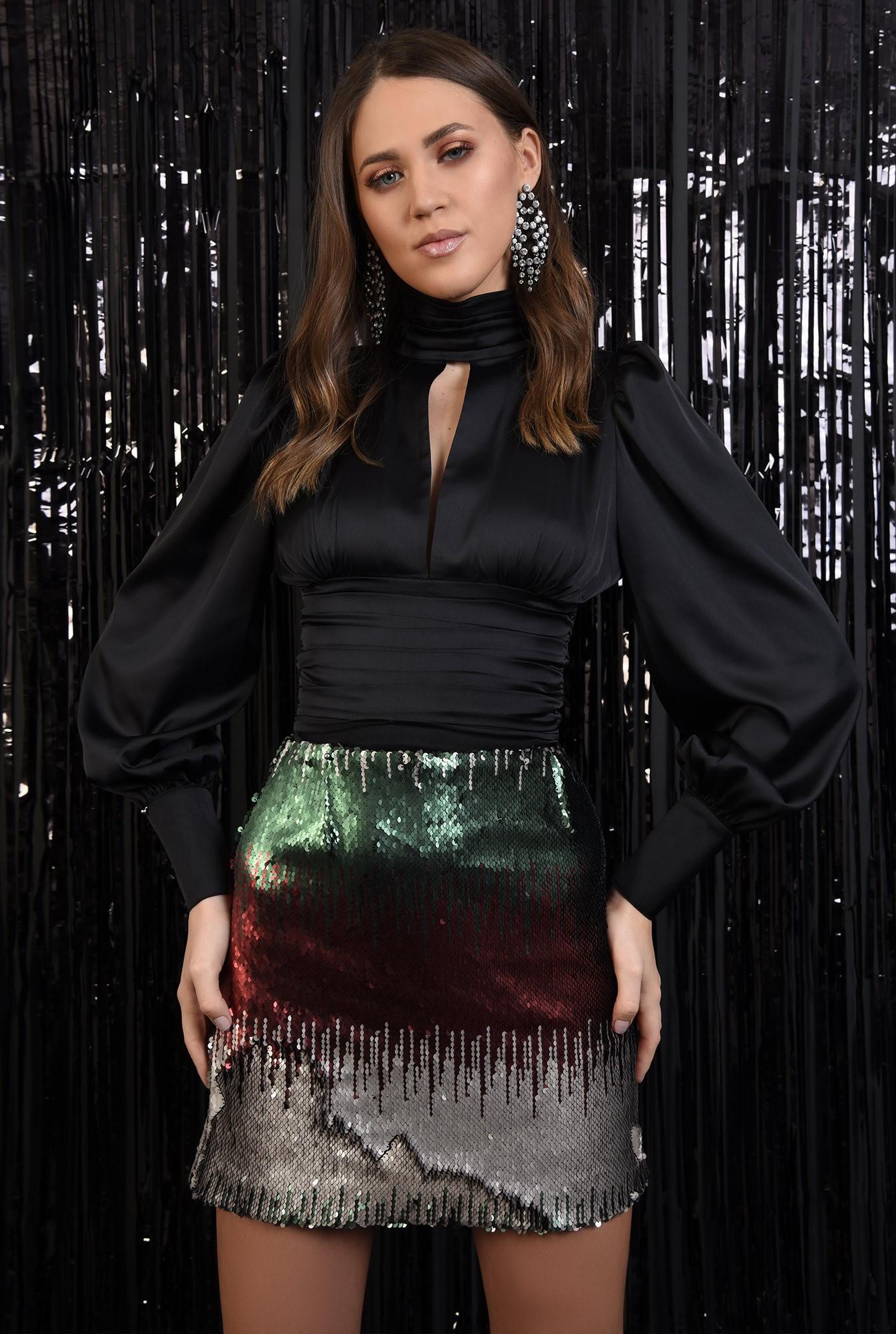 fusta eleganta, paiete multicolore, scurta, croi drept