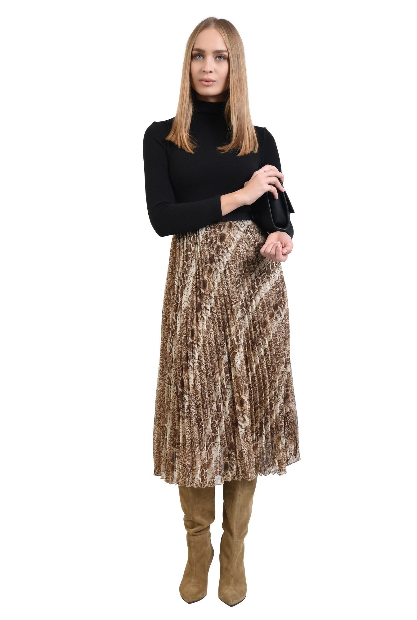 fusta animal print, din voal, pliseuri, talie inalta cu betelie elastica, print
