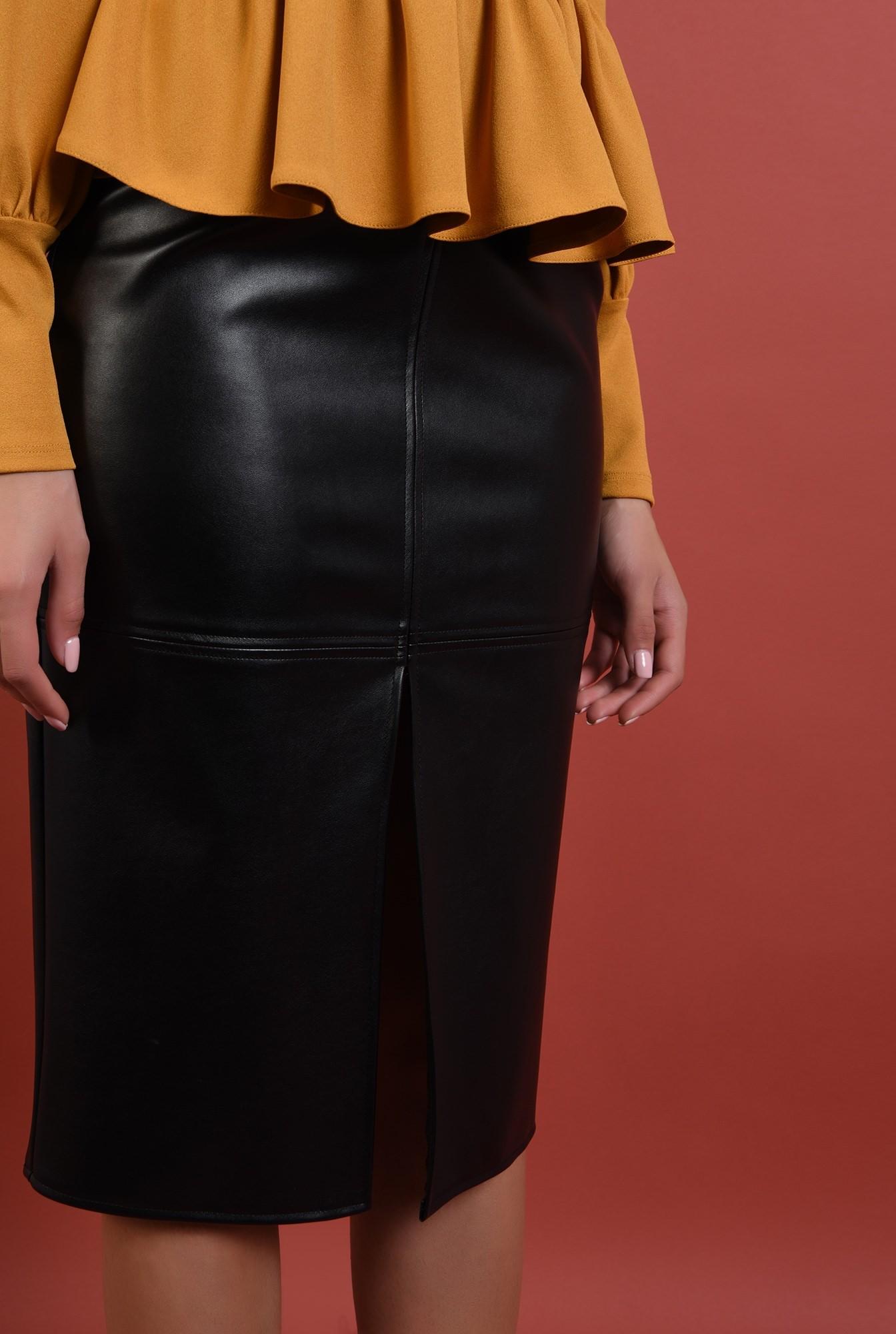 fusta neagra, cusaturi, piele ecologica, Poema. fuste online