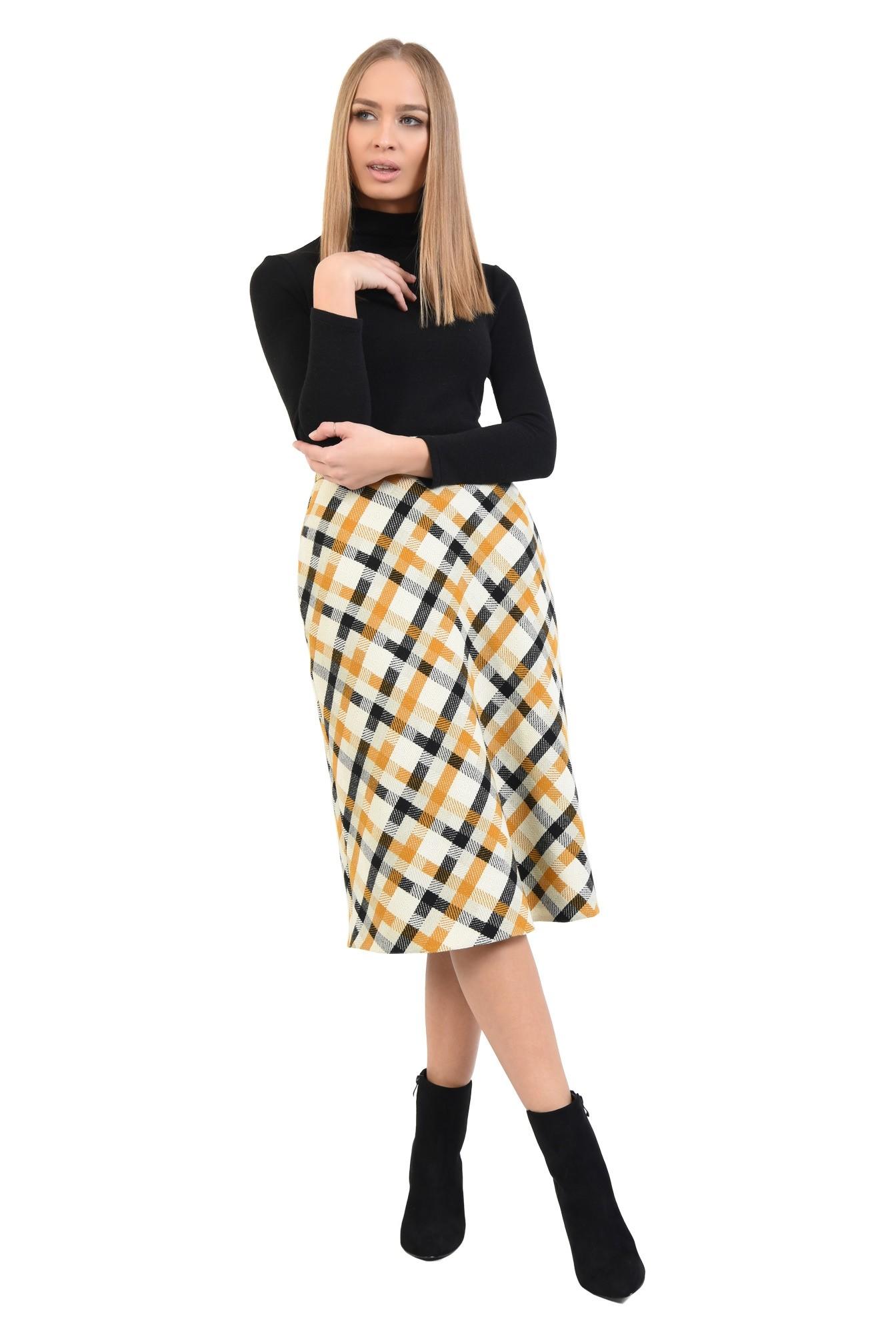 360 - fusta midi, evazata, amestec lana, carouri, alb, negru, mustar