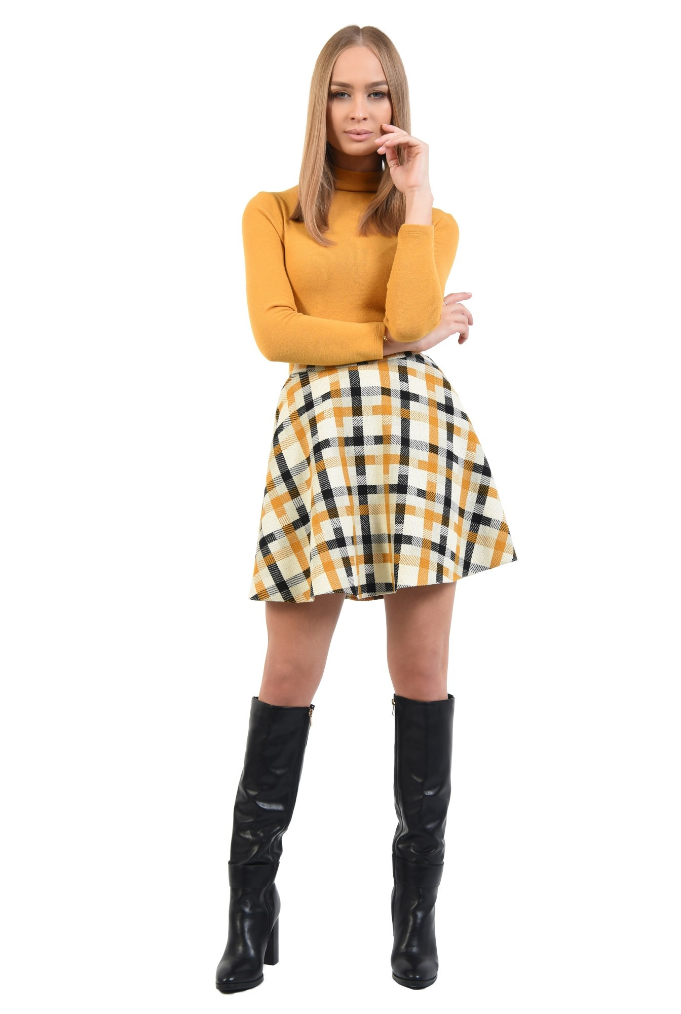 360 - fusta casual, mini, evazata, stofa, imprimeu