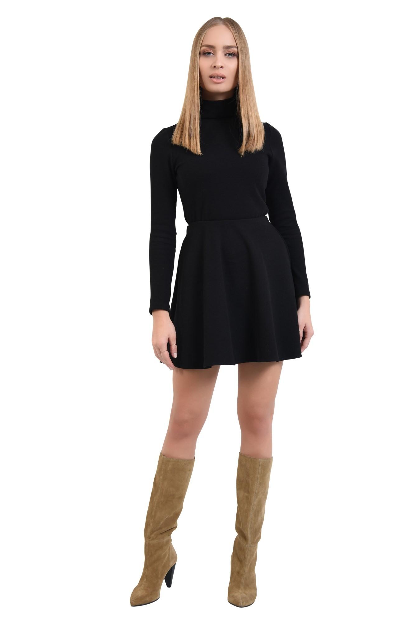 fusta scurta, neagra, tricotata, croi evazat