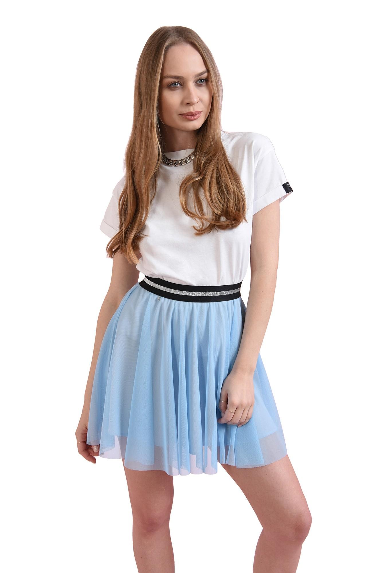 fusta bleu, cu talie elastica, cu glitter