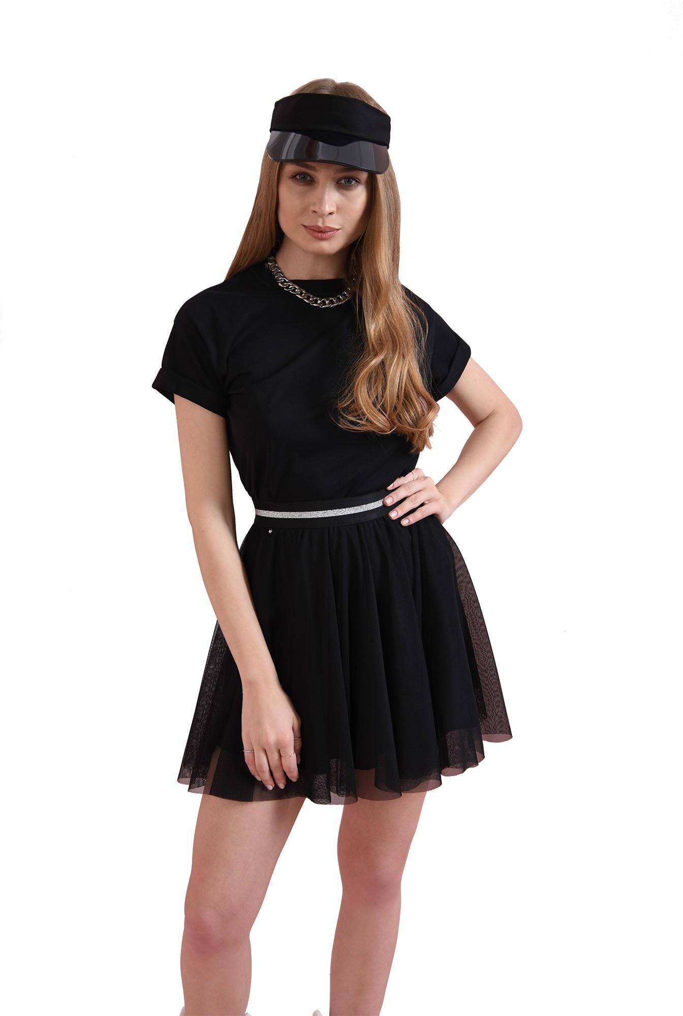 fusta neagra, din tul, cu insertie glitter la talie
