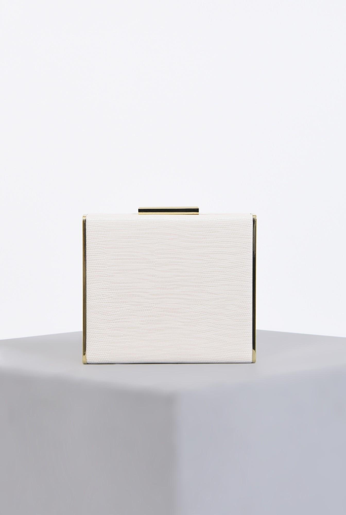 clutch alb, auriu, accesorii, lant