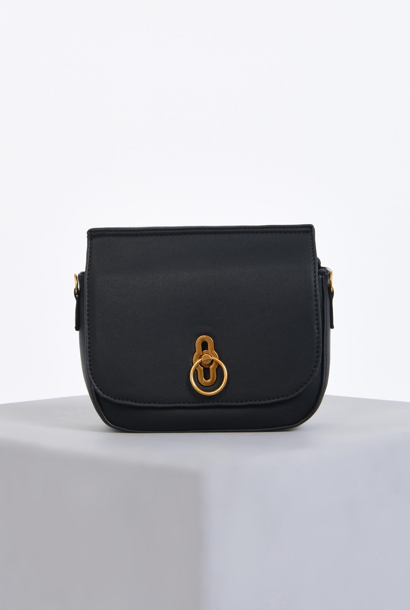 geanta casual, mini, bareta detasabila, negru